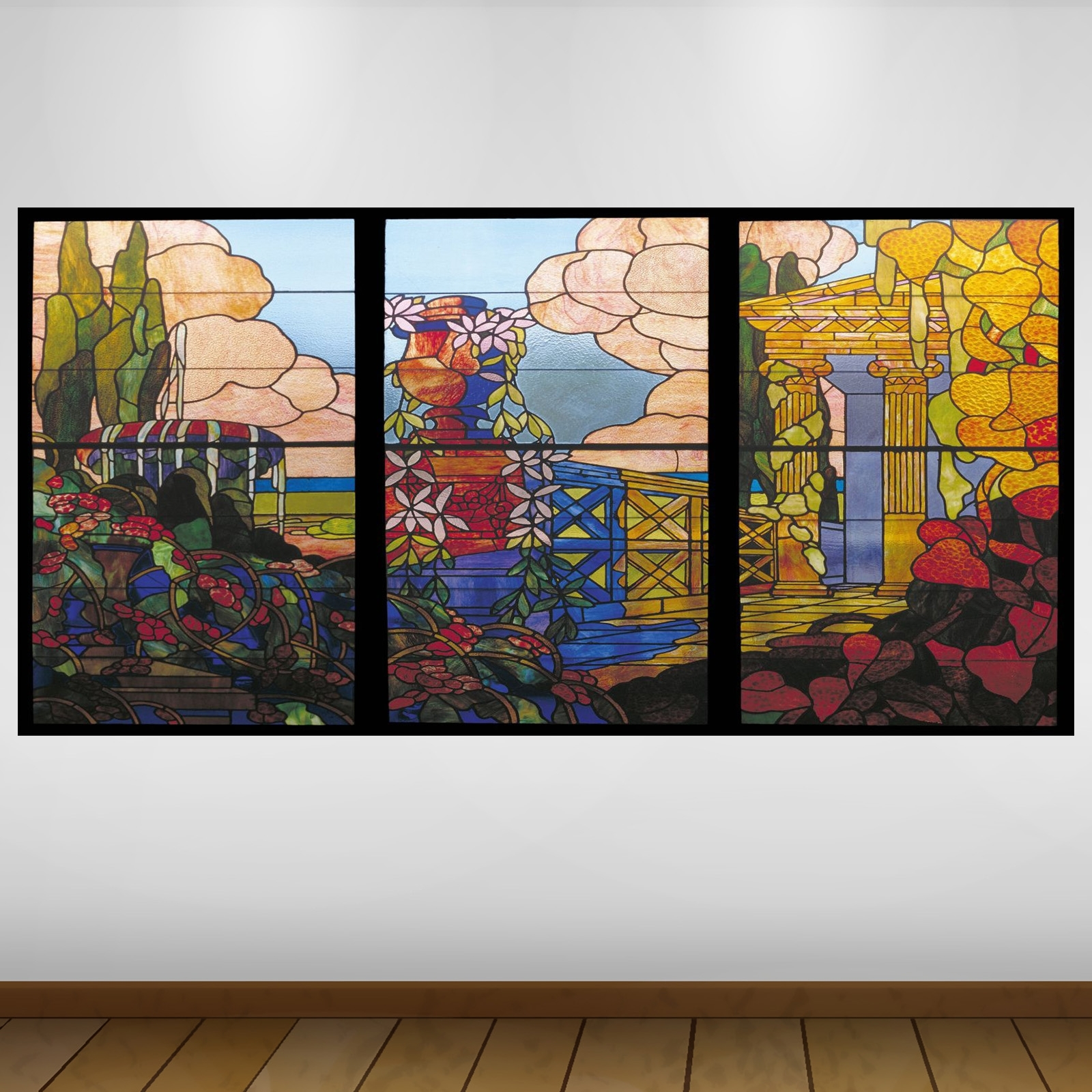 Extra Large Garden View Stained Glass Culture Vinyl Wall Art Sticker In Stained Glass Wall Art (View 10 of 20)