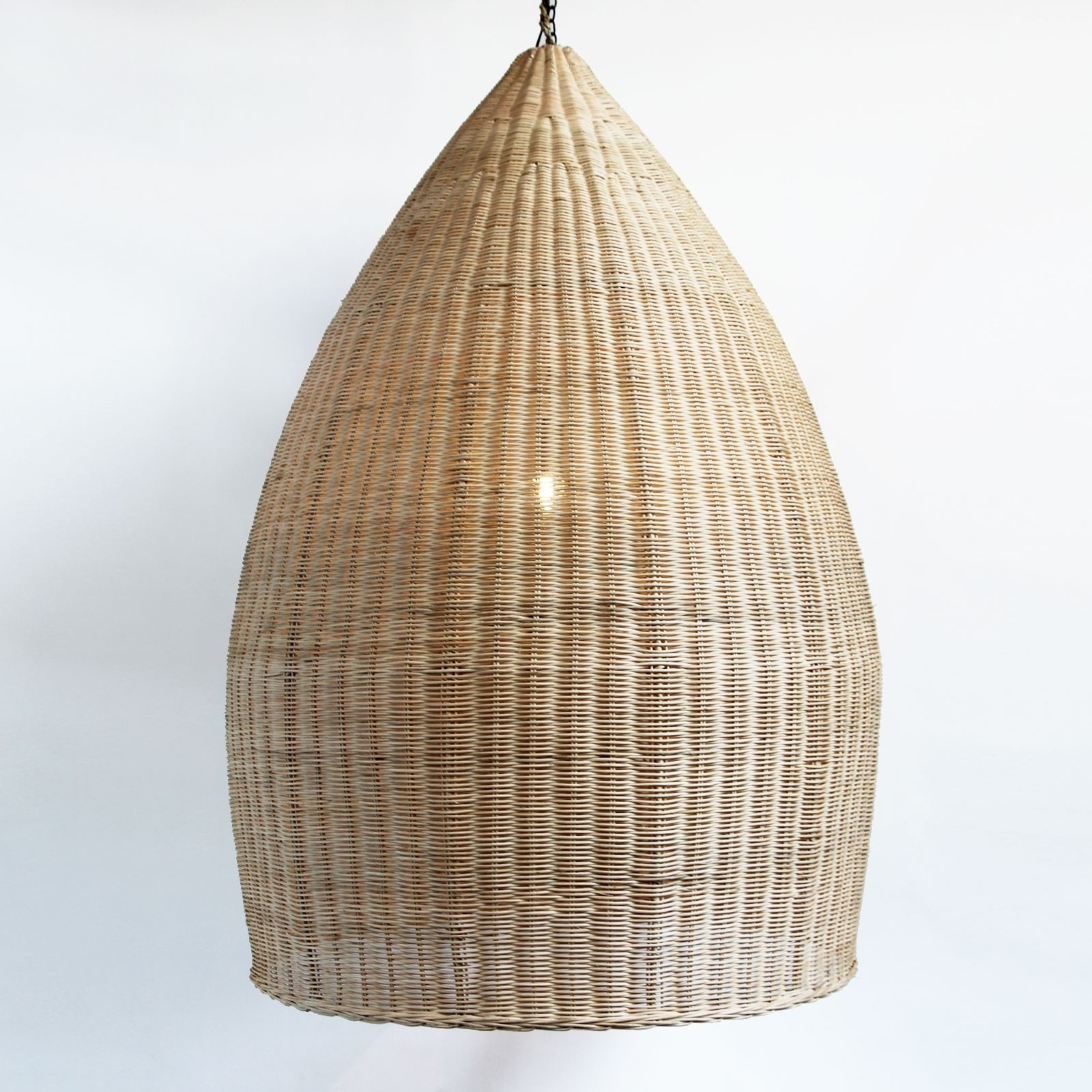 Extra Large Hand Woven Pod Lantern In Natural Raw Rattan (View 4 of 20)
