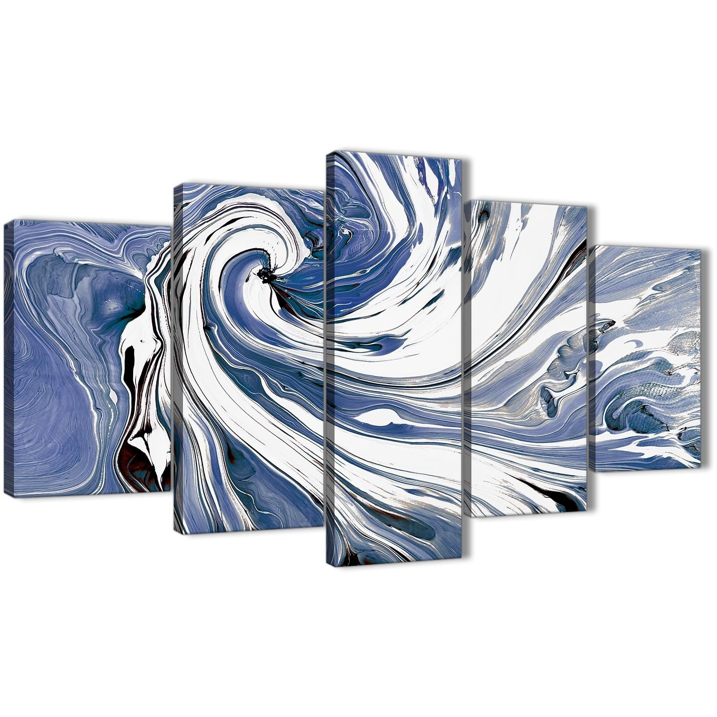 Extra Large Indigo Blue White Swirls Modern Abstract Canvas Wall Art inside Abstract Oversized Canvas Wall Art (Image 8 of 20)