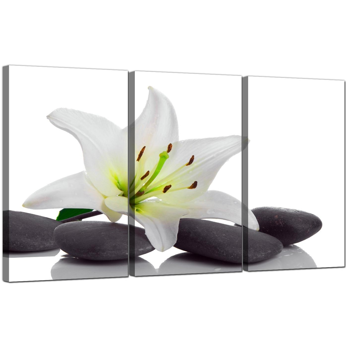 Extra Large Lily Canvas Wall Art 3 Panel For Your Bathroom Intended For Bathroom Canvas Wall Art (Photo 6 of 20)