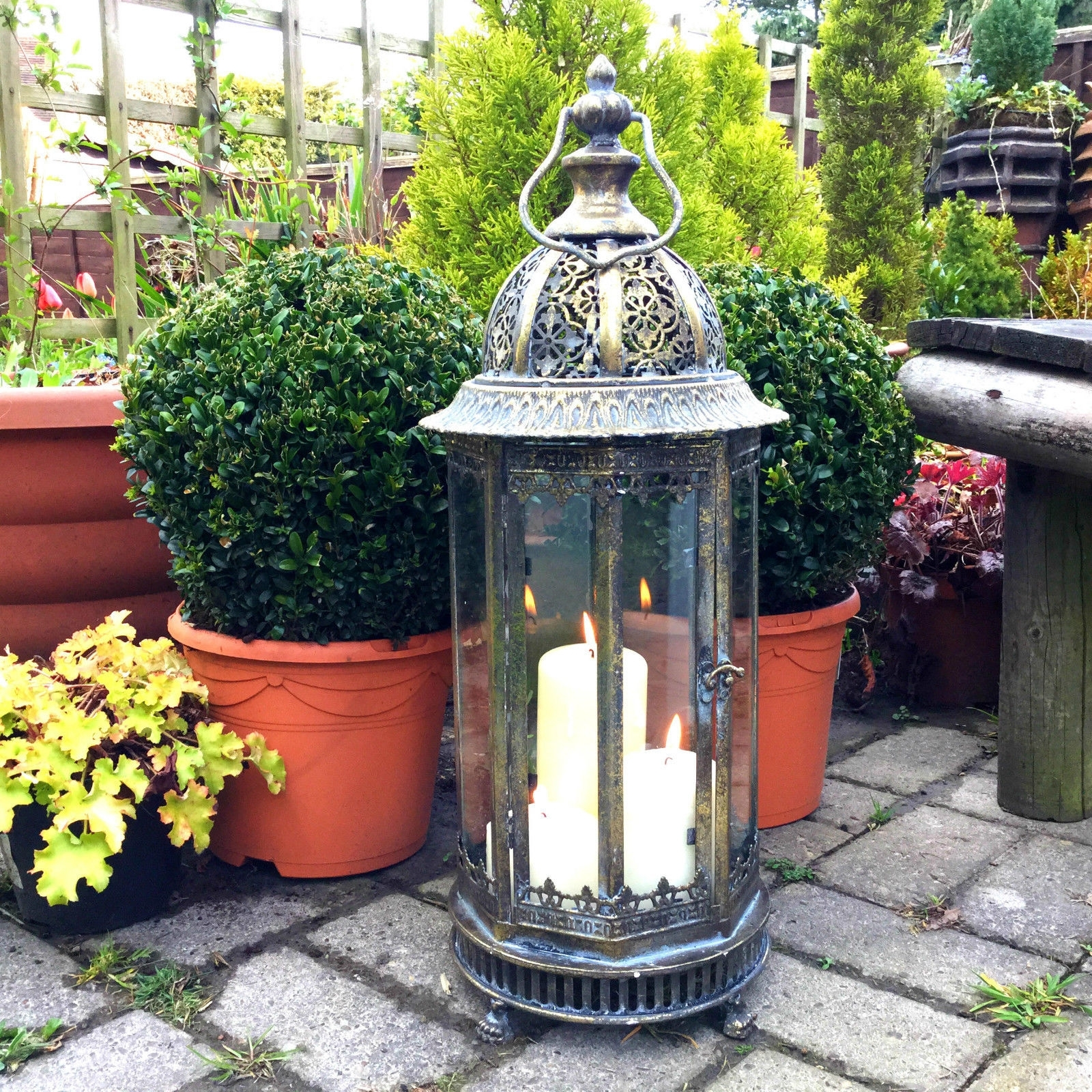 Extra Large Metal Garden Lantern Candle Holder Antique French Pertaining To Moroccan Outdoor Lanterns (Photo 3 of 20)