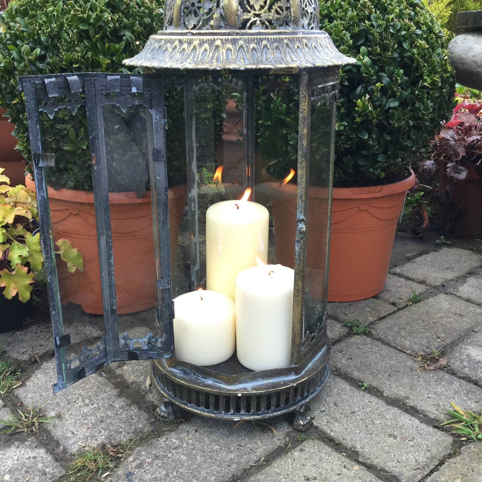 Extra Large Metal Garden Lantern Candle Holder Antique French regarding Outdoor Lanterns With Flameless Candles (Image 7 of 20)