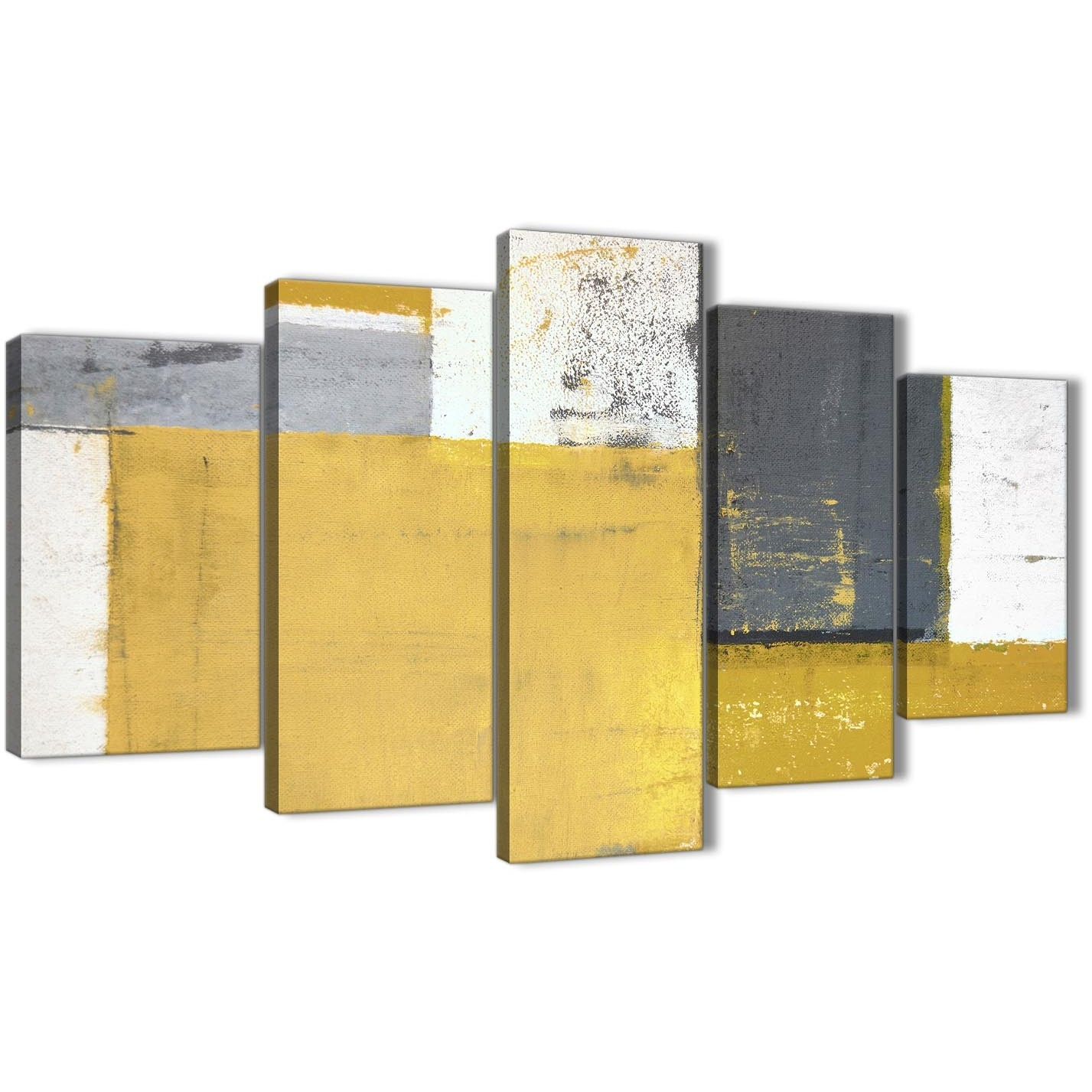 Extra Large Mustard Yellow Grey Abstract Painting Canvas Wall Art With Regard To Oversized Canvas Wall Art (Photo 20 of 20)