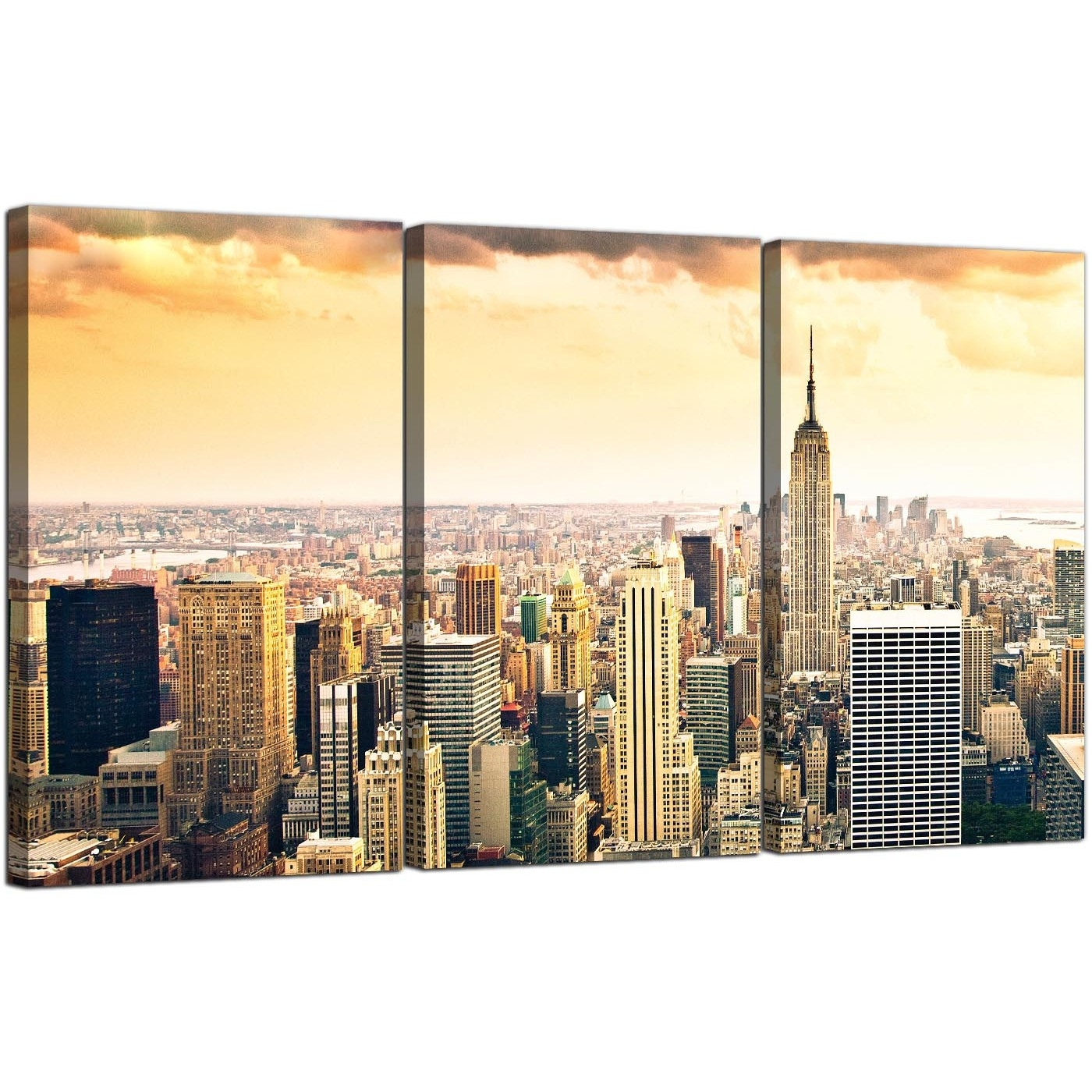 Extra Large New York Skyline Canvas Pictures 3 Panel For Your Bedroom Within New York Canvas Wall Art (View 13 of 20)