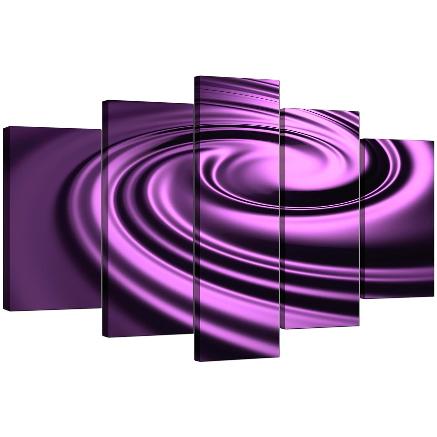 Extra Large Purple Abstract Canvas Art   Set Of 5 In Purple Wall Art (Photo 10 of 20)