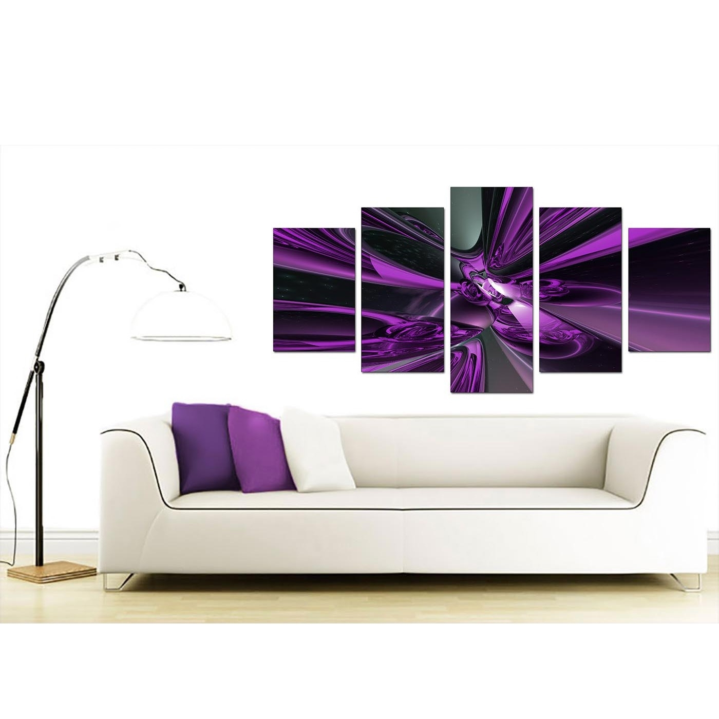 Extra Large Purple Abstract Canvas Prints Uk   5 Piece Intended For 5 Piece Wall Art Canvas (Photo 17 of 20)