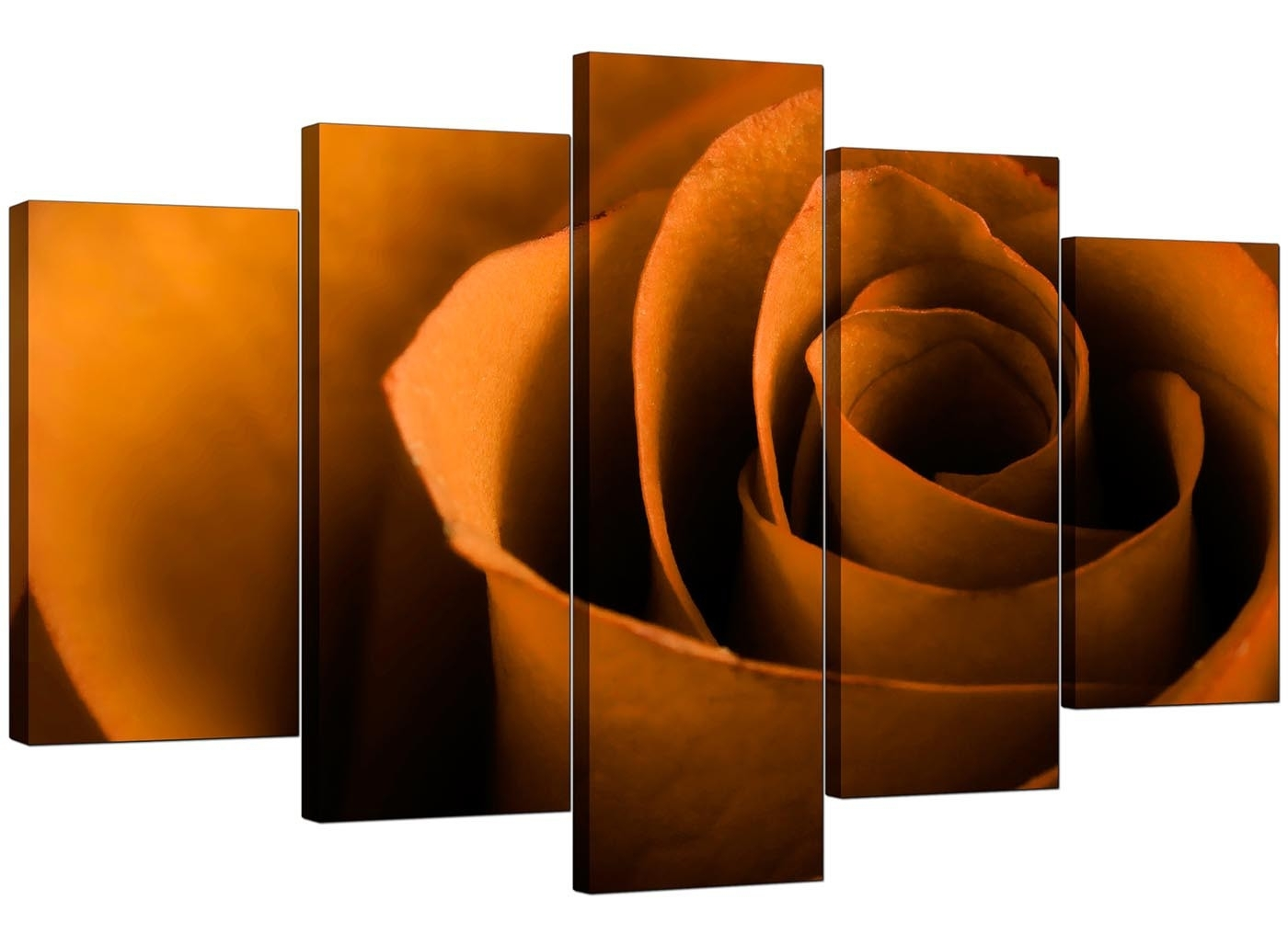 Extra Large Rose Canvas Wall Art 5 Panel In Orange Inside Orange Wall Art (View 5 of 20)