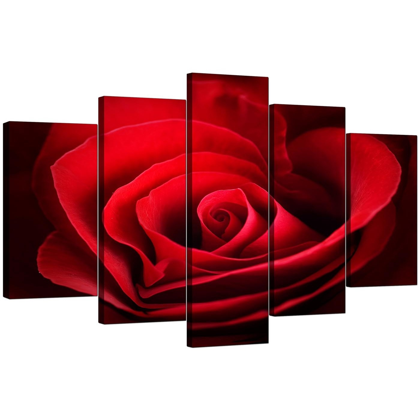 Extra Large Rose Canvas Wall Art 5 Panel In Red intended for Red Canvas Wall Art (Image 12 of 20)