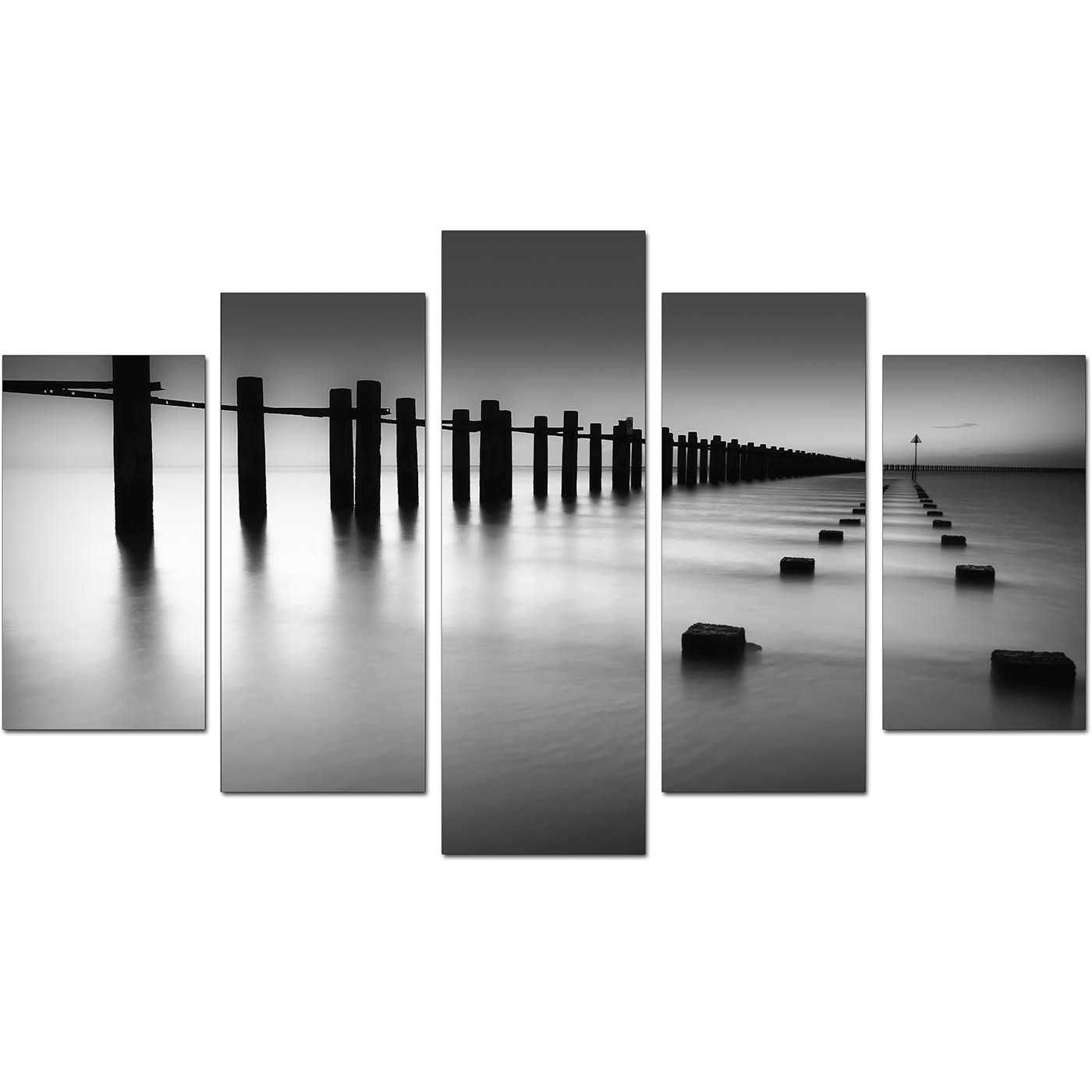 Extra Large Sea Canvas Prints 5 Piece In Black & White Throughout Black And White Large Canvas Wall Art (Photo 7 of 20)