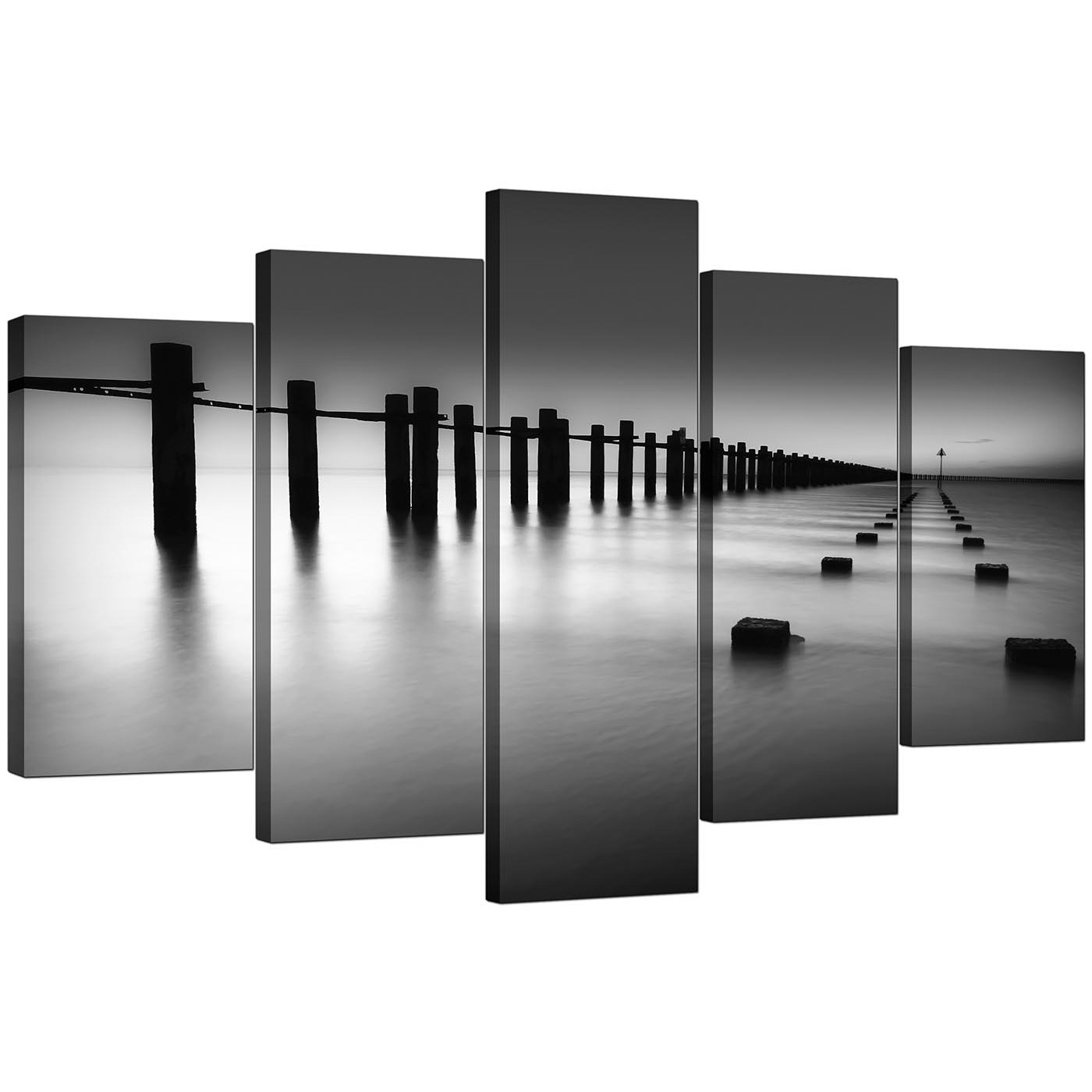Extra Large Sea Canvas Prints 5 Piece In Black & White with regard to Black And White Canvas Wall Art (Image 8 of 20)