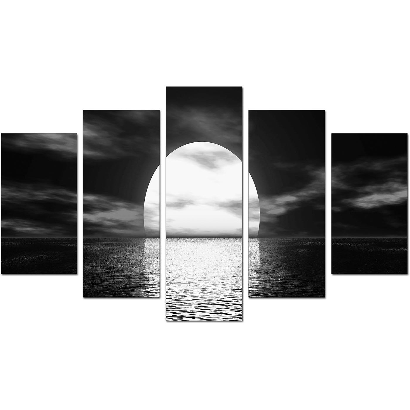 Extra Large Sunset Canvas Prints Uk Set Of Five In Black & White with Black and White Canvas Wall Art (Image 9 of 20)