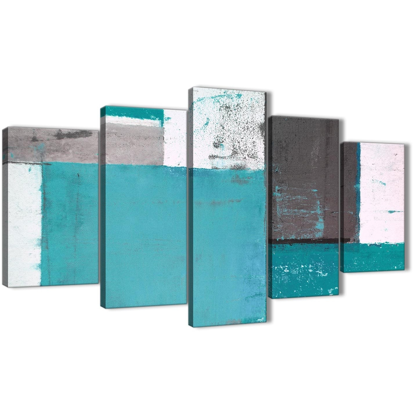 Extra Large Teal Grey Abstract Painting Canvas Wall Art Multi 5 Set Intended For Oversized Teal Canvas Wall Art (Photo 18 of 20)