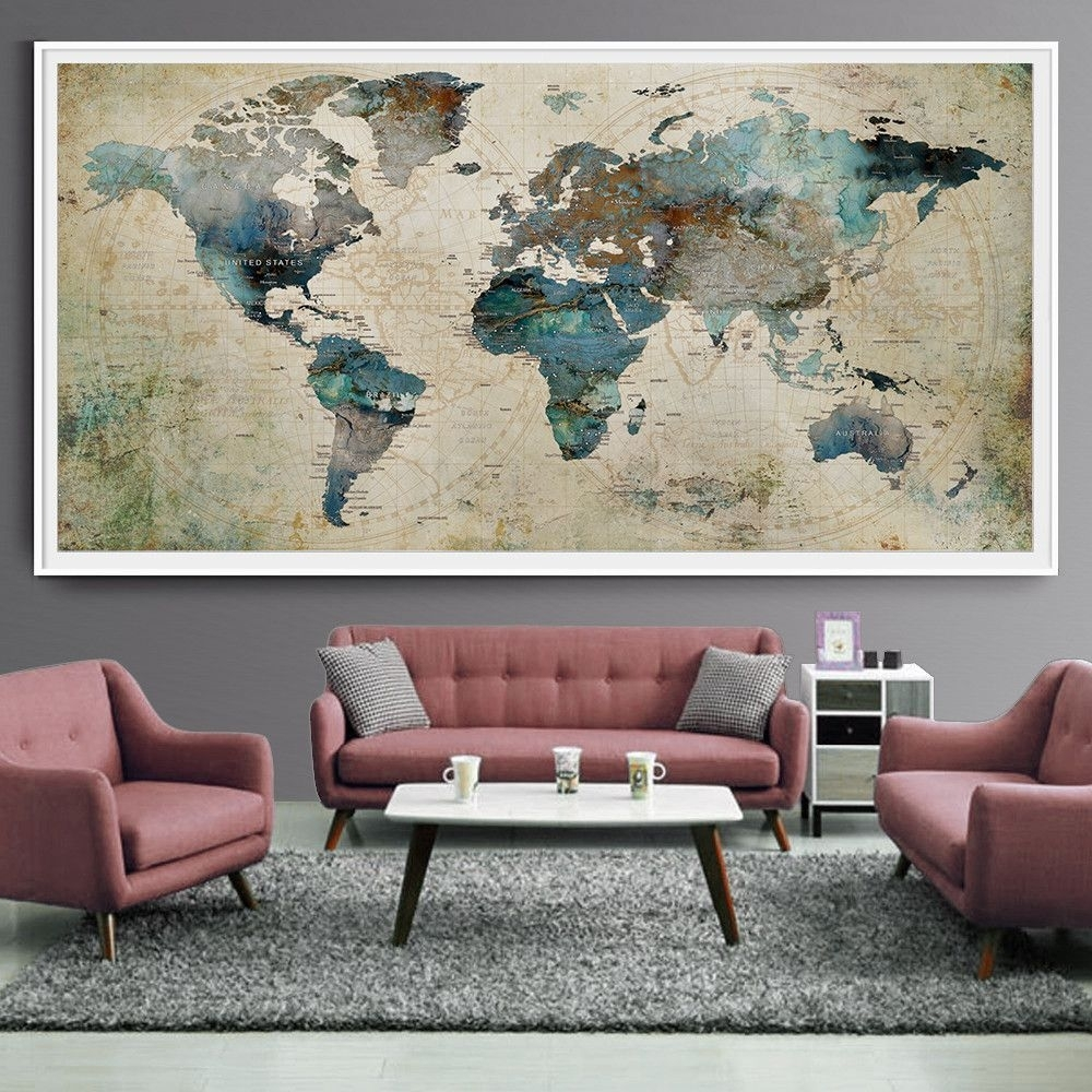 Extra Large Wall Art Push Pin World Map Art Print, Large Wall Decor with Extra Large Wall Art (Image 10 of 20)