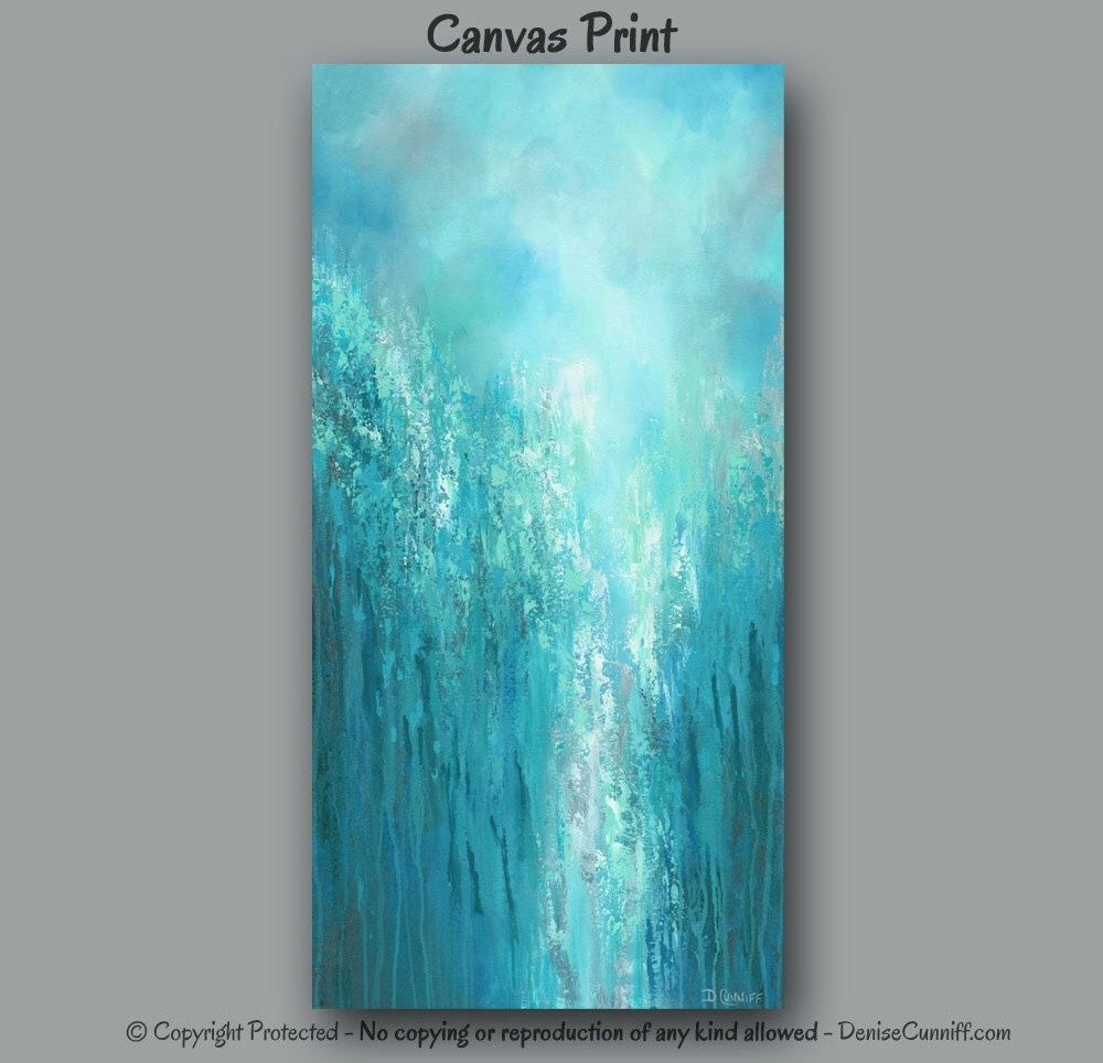 Extra Large Wall Art, Teal Abstract, Turquoise Home Decor, Office with Oversized Teal Canvas Wall Art (Image 10 of 20)