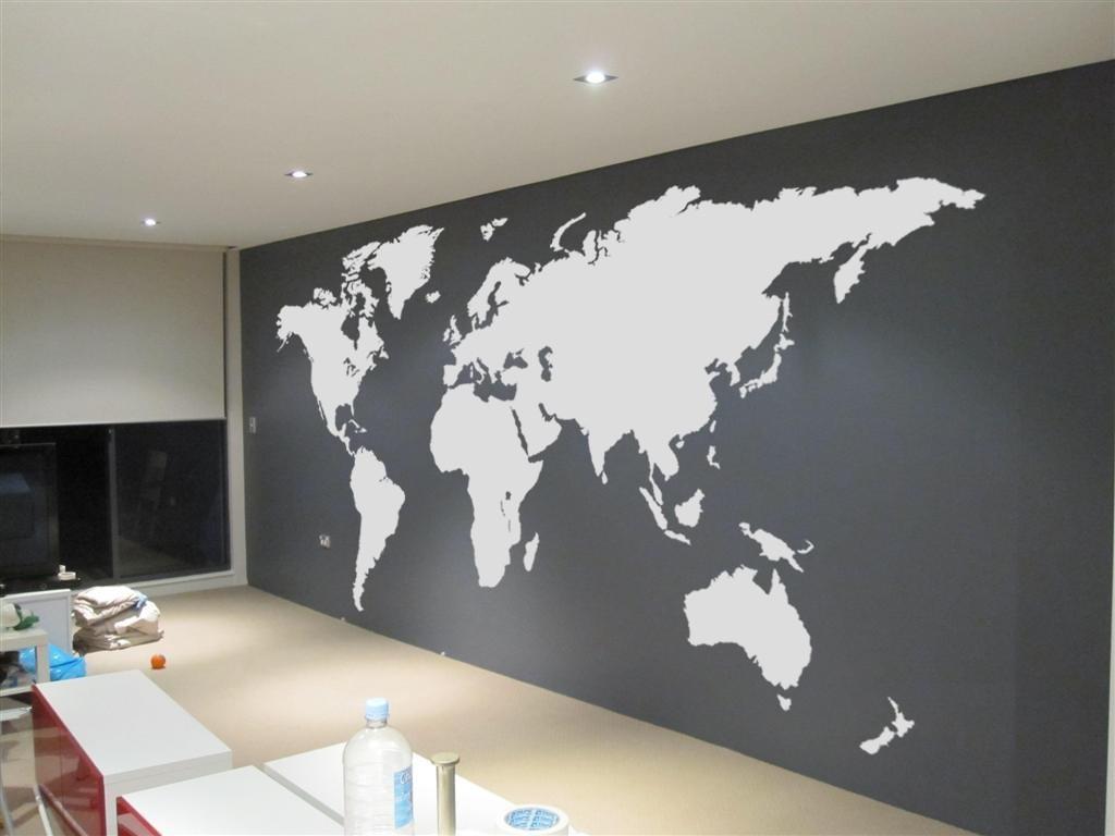 Extra Large World Map Vinyl Wall Sticker Stickers Inside Decal Regarding Vinyl Wall Art World Map (View 10 of 20)