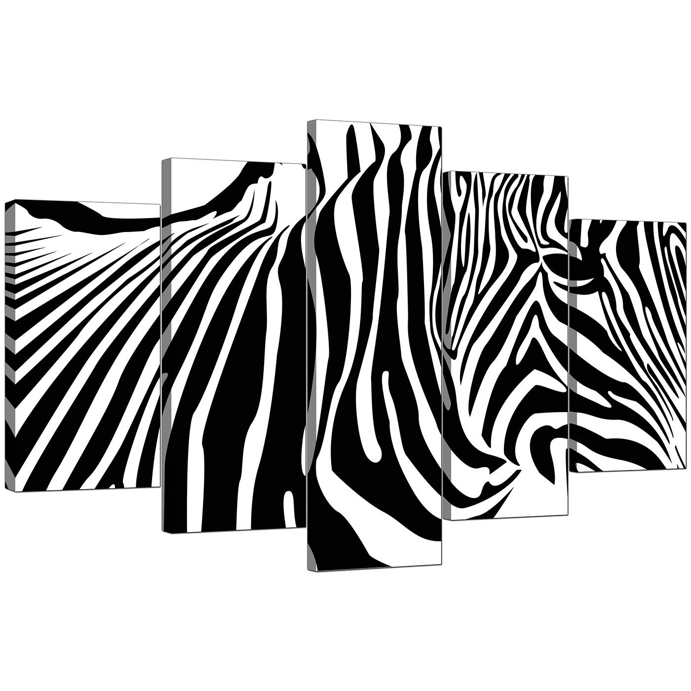 Extra Large Zebra Canvas Prints 5 Piece In Black & White With Regard To Zebra Canvas Wall Art (Photo 7 of 20)
