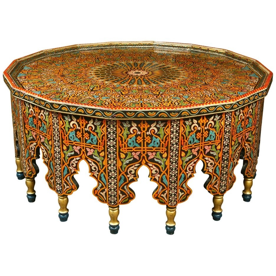 Fabulous Moroccan Coffee Table Moroccan Round Coffee Table Moroccan throughout Round Carved Wood Coffee Tables (Image 11 of 30)