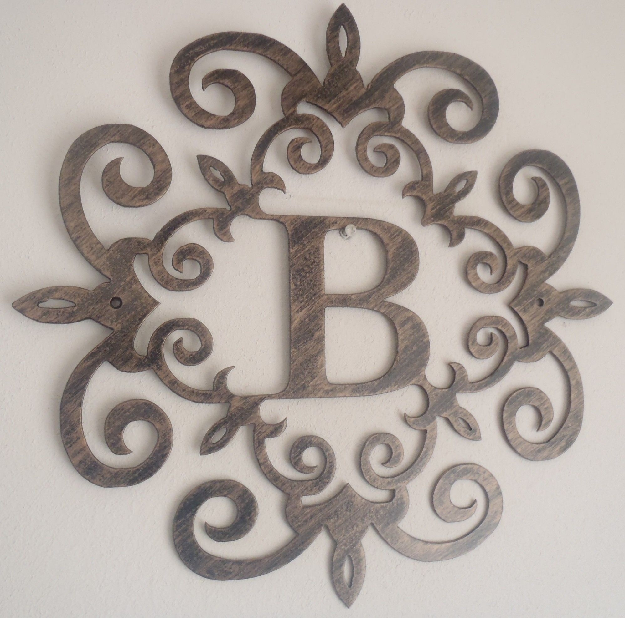 Family Initial, Monogram Inside A Metal Scroll With B Letter, Wall with regard to Metal Scroll Wall Art (Image 7 of 20)
