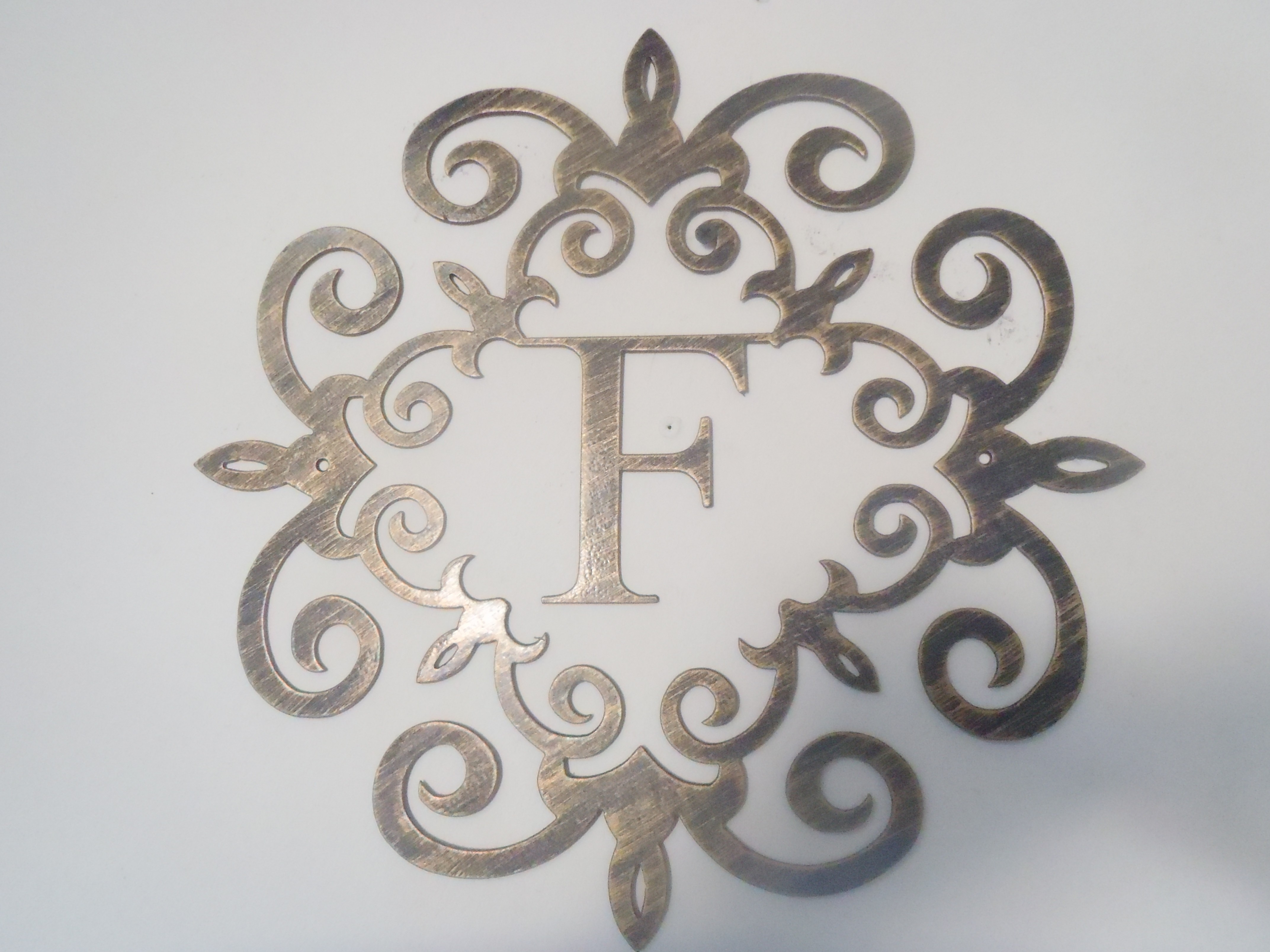 Family Initial, Monogram Inside A Metal Scroll With F Letter, 20 with regard to Metal Letter Wall Art (Image 5 of 20)
