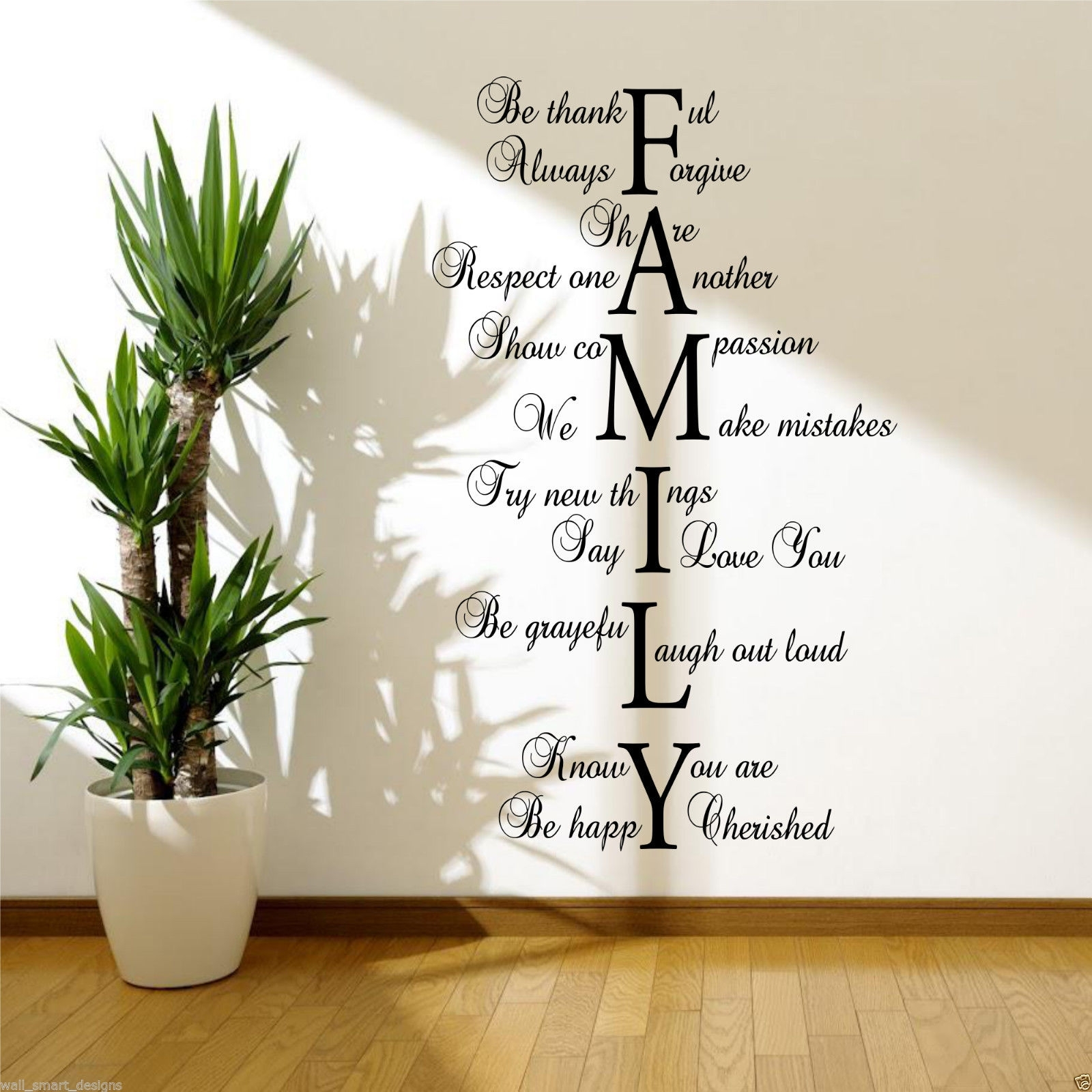 Family Love Life Wall Art Sticker Quote Room Decal Mural Transfer With Regard To Wall Art Quotes (View 2 of 20)