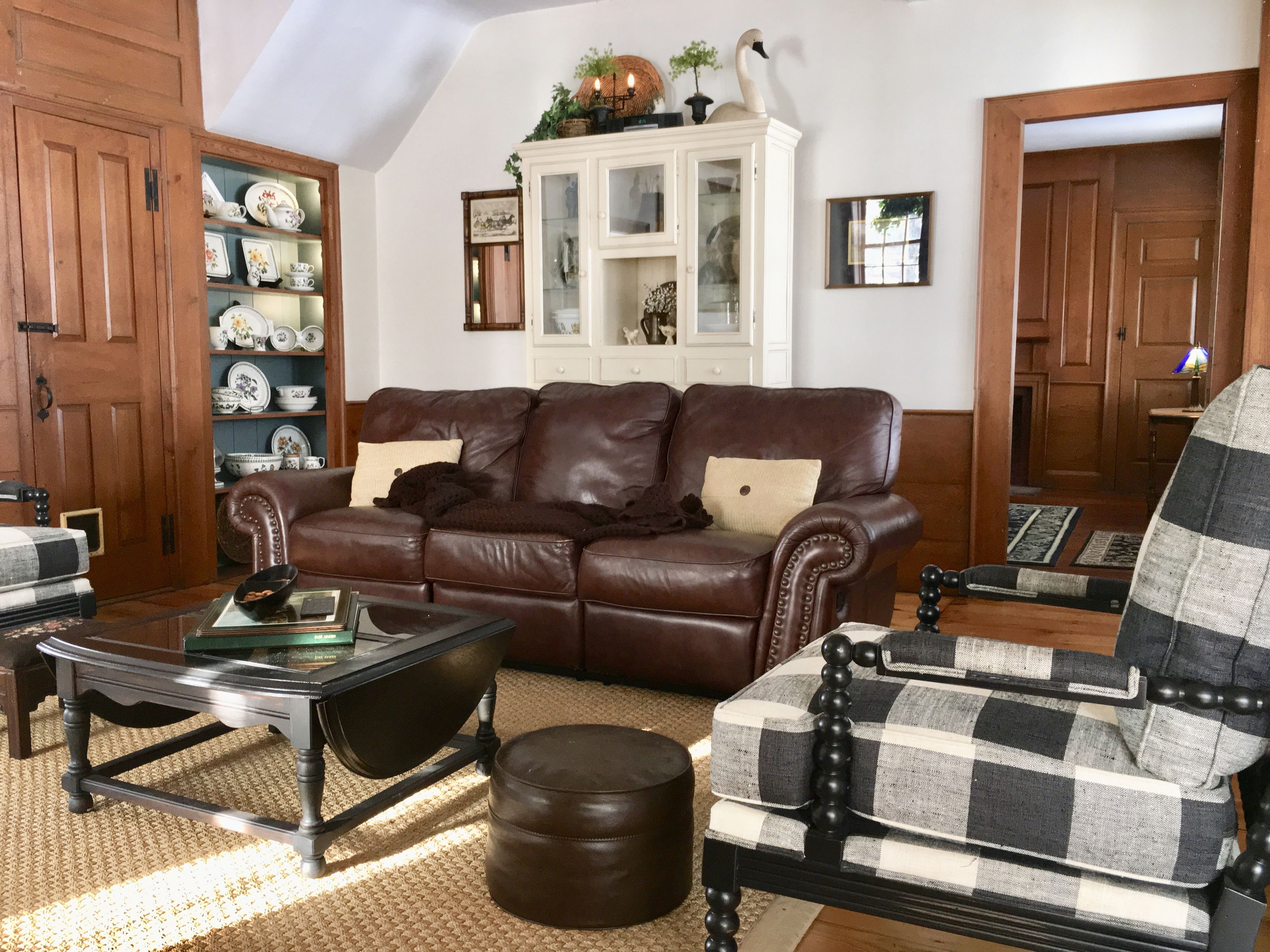 Family Room, Buffalo Checks, Brown Leather Couch, China Cabinet pertaining to Large-Scale Chinese Farmhouse Coffee Tables (Image 10 of 30)