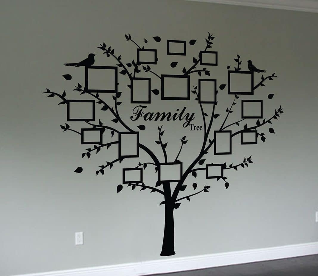 Family Tree Quote And Decal Frames | Wall Art Decal Sticker throughout Tree Wall Art (Image 4 of 20)