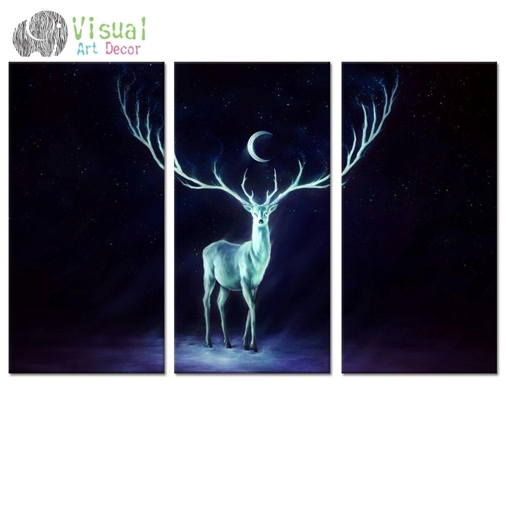 Fancy Moon Starry Night Art Canvas Wall Art Beautiful Deer Canvas regarding Animal Canvas Wall Art (Image 16 of 20)