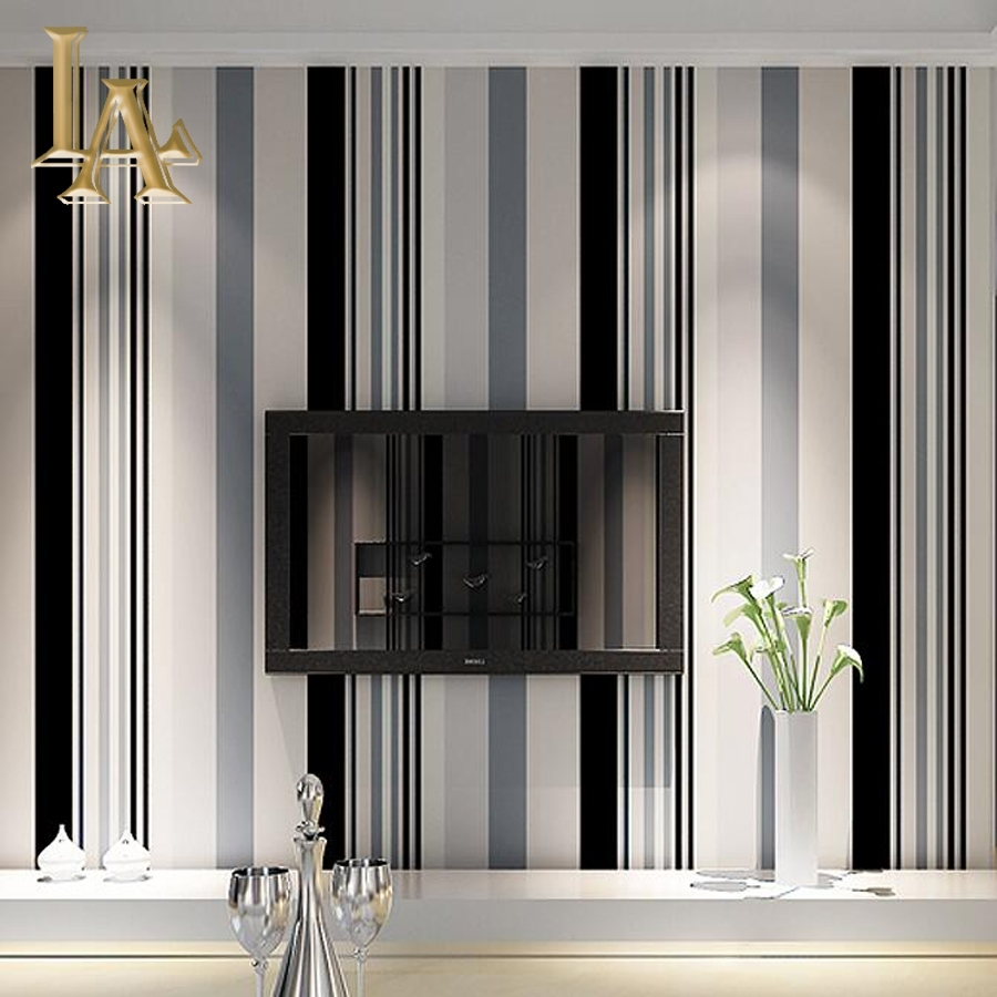 Fashion Black White Grey Vertical Striped Wallpaper Living Room Sofa with Grey And White Wall Art (Image 10 of 20)