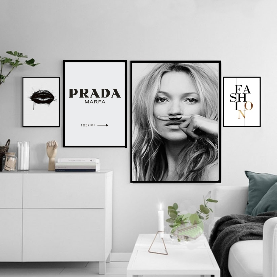 Fashion Make Up Canvas Painting Black White Posters Prints Salon with regard to Black And White Wall Art (Image 12 of 20)