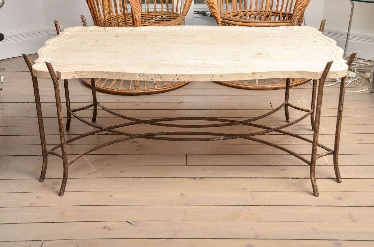 Faux-Bois Iron Base Limestone Top Coffee Table With Scalloped Edge in Faux Bois Coffee Tables (Image 23 of 30)