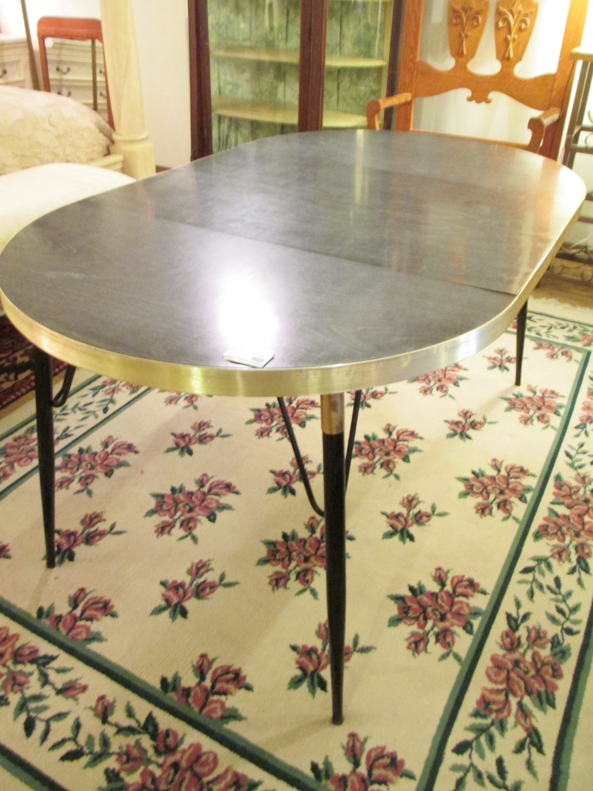 Faux Bois Vintage Laminate Table W/ Leaves – Sold – Ballard Consignment throughout Faux Bois Coffee Tables (Image 21 of 30)
