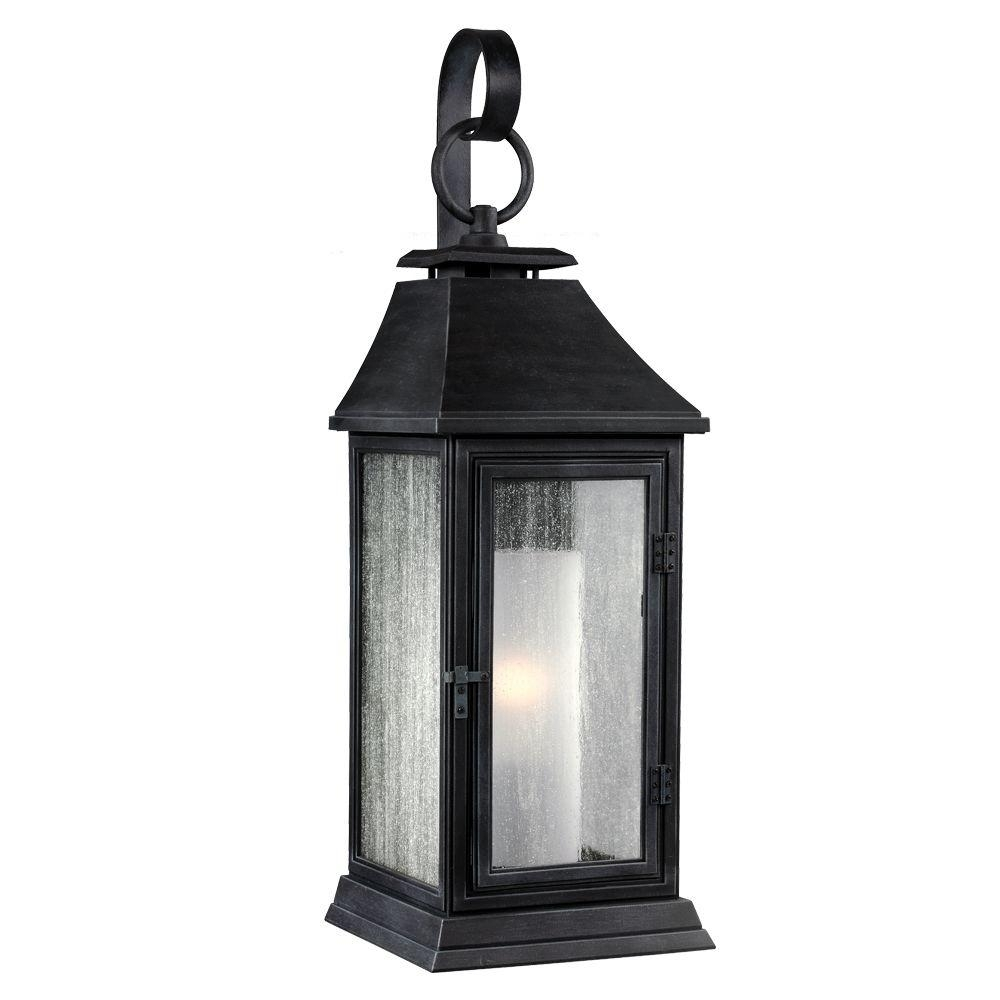 Feiss Shepherd 1-Light Dark Weathered Zinc Outdoor Wall Fixture with Zinc Outdoor Lanterns (Image 8 of 20)
