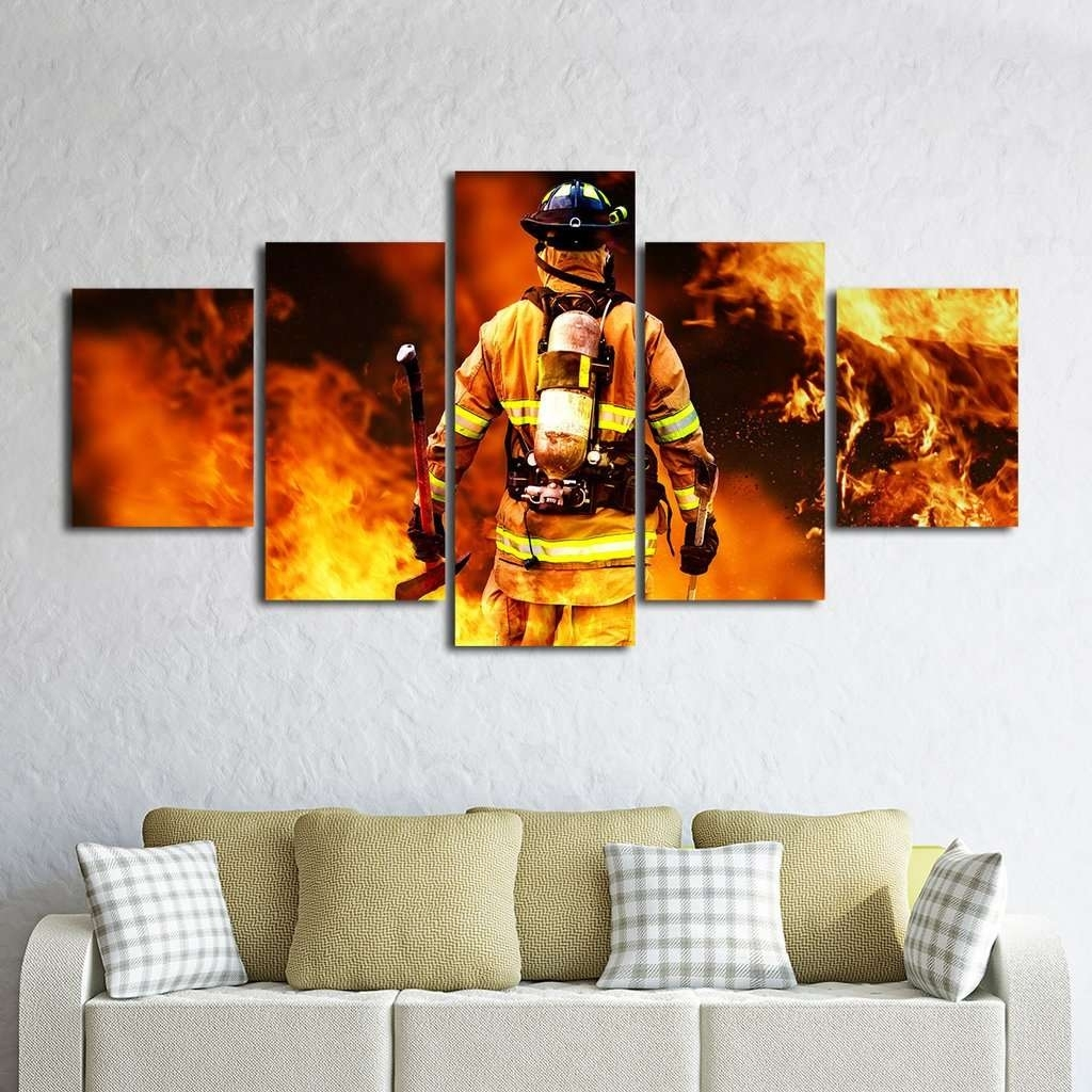 Firefighter Wall Art Multi Panel Canvas | Mighty Paintings with Multi Panel Wall Art (Image 9 of 20)