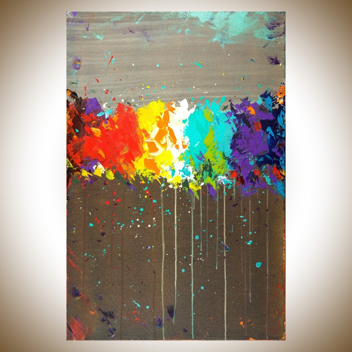 """Fireworksqiqigallery 36""""x24"""" Original Modern Abstract Wall within Modern Abstract Painting Wall Art (Image 13 of 20)"""