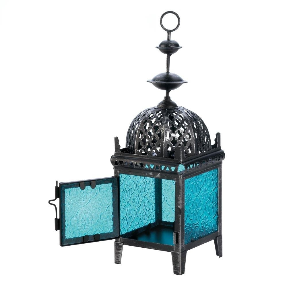 Floor Lanterns, Blue Medallion Metal Decorative Patio Charm Outdoor in Blue Outdoor Lanterns (Image 10 of 20)