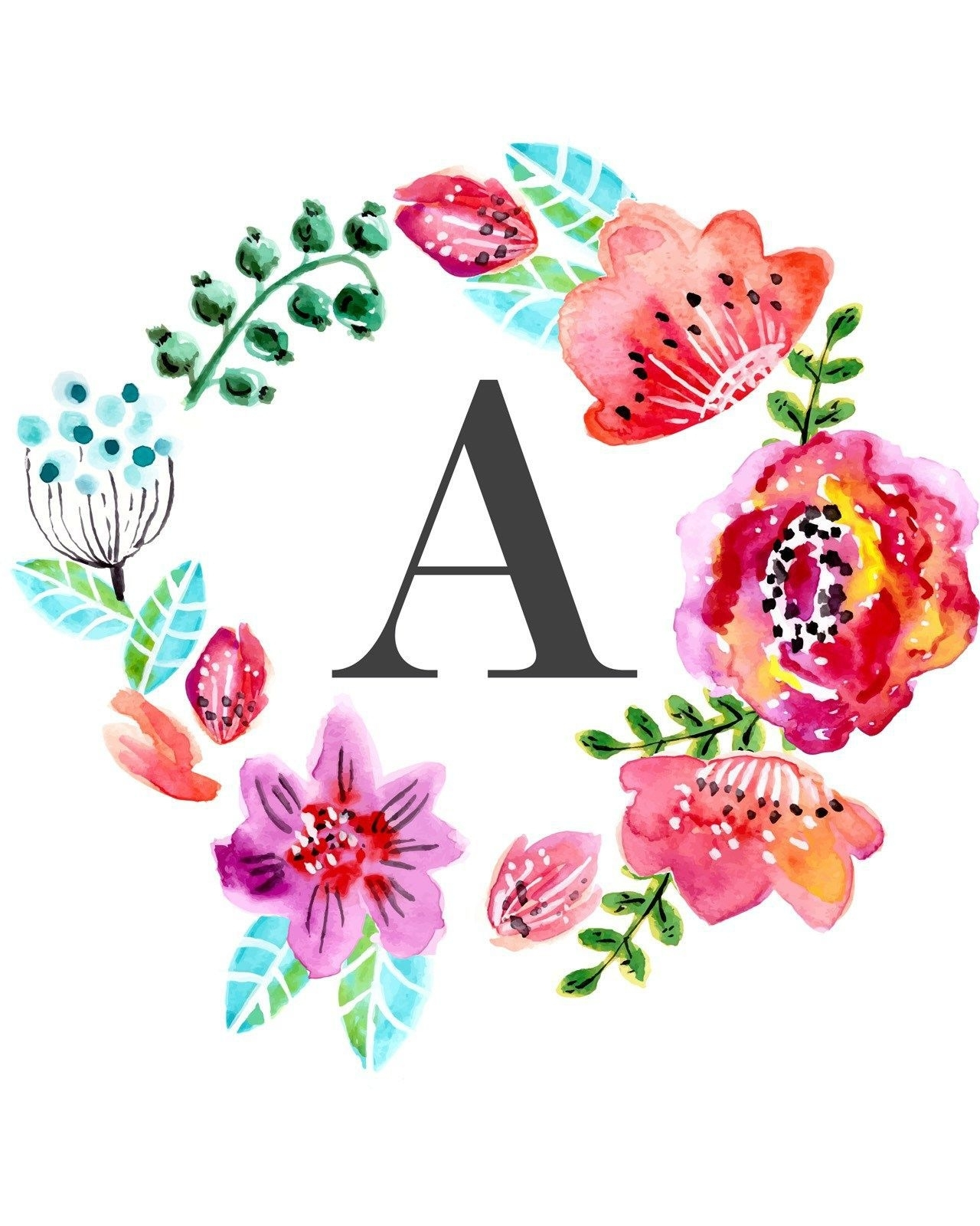 Floral Monogram Free Printable Wall Art Printables, Printable Disney Intended For Free Printable Wall Art Decors (View 19 of 20)