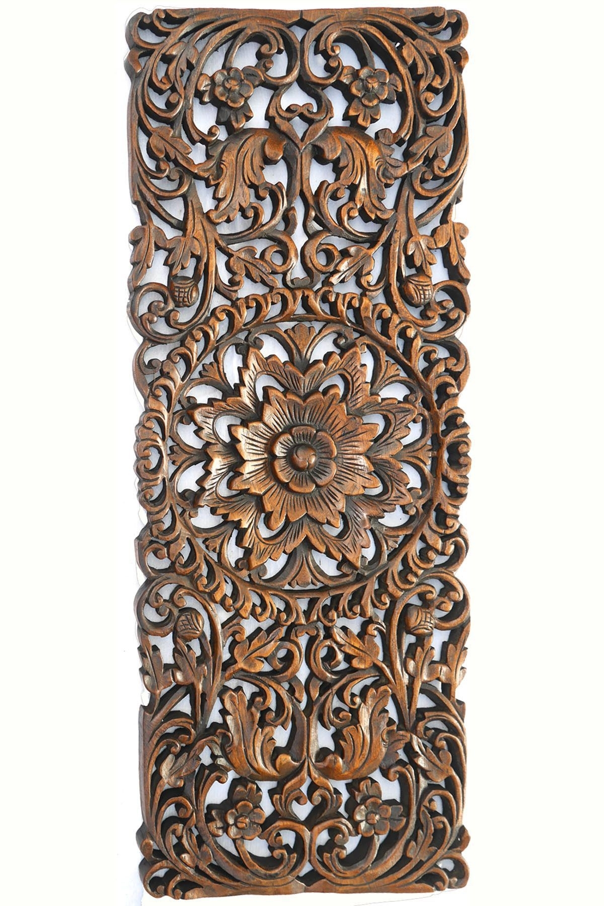 Floral Tropical Carved Wood Wall Panel. Asian Wall Art Home Decor inside Carved Wood Wall Art (Image 11 of 20)