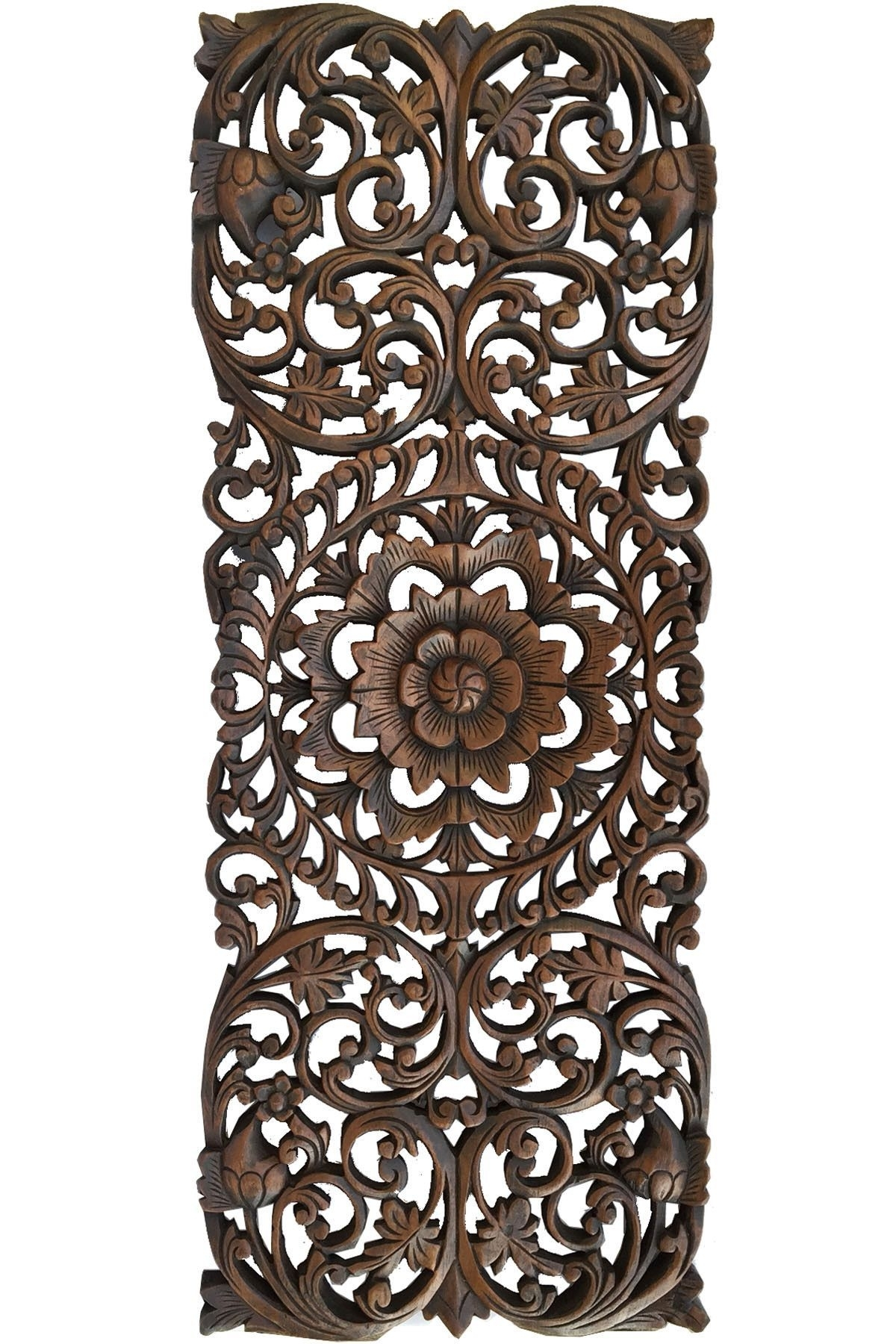 Floral Tropical Carved Wood Wall Panel. Asian Wall Art Home Decor regarding Carved Wood Wall Art (Image 12 of 20)