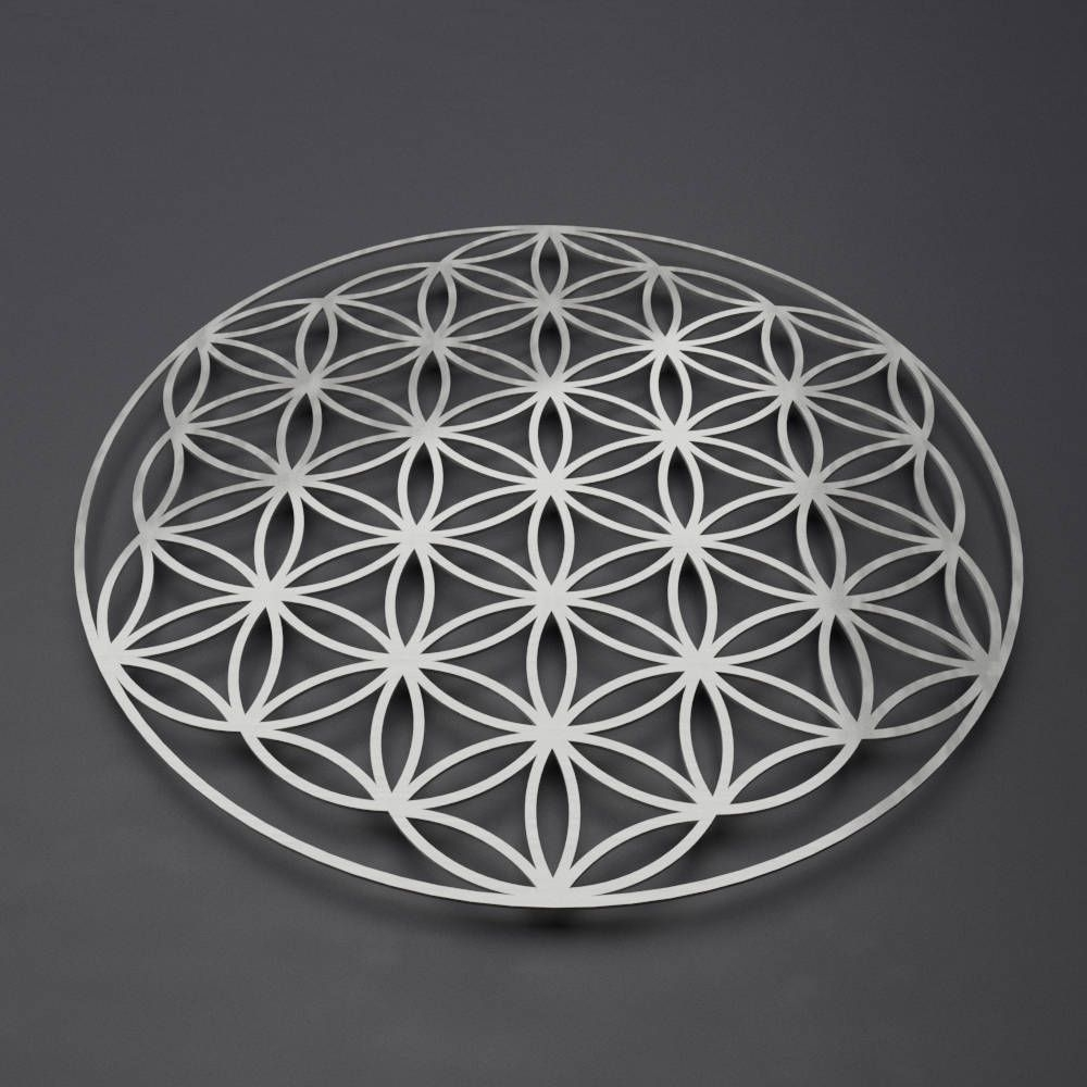 Flower Of Life Metal Wall Art Sculpture, Sacred Geometry Wall Art throughout Modern Metal Wall Art (Image 4 of 20)