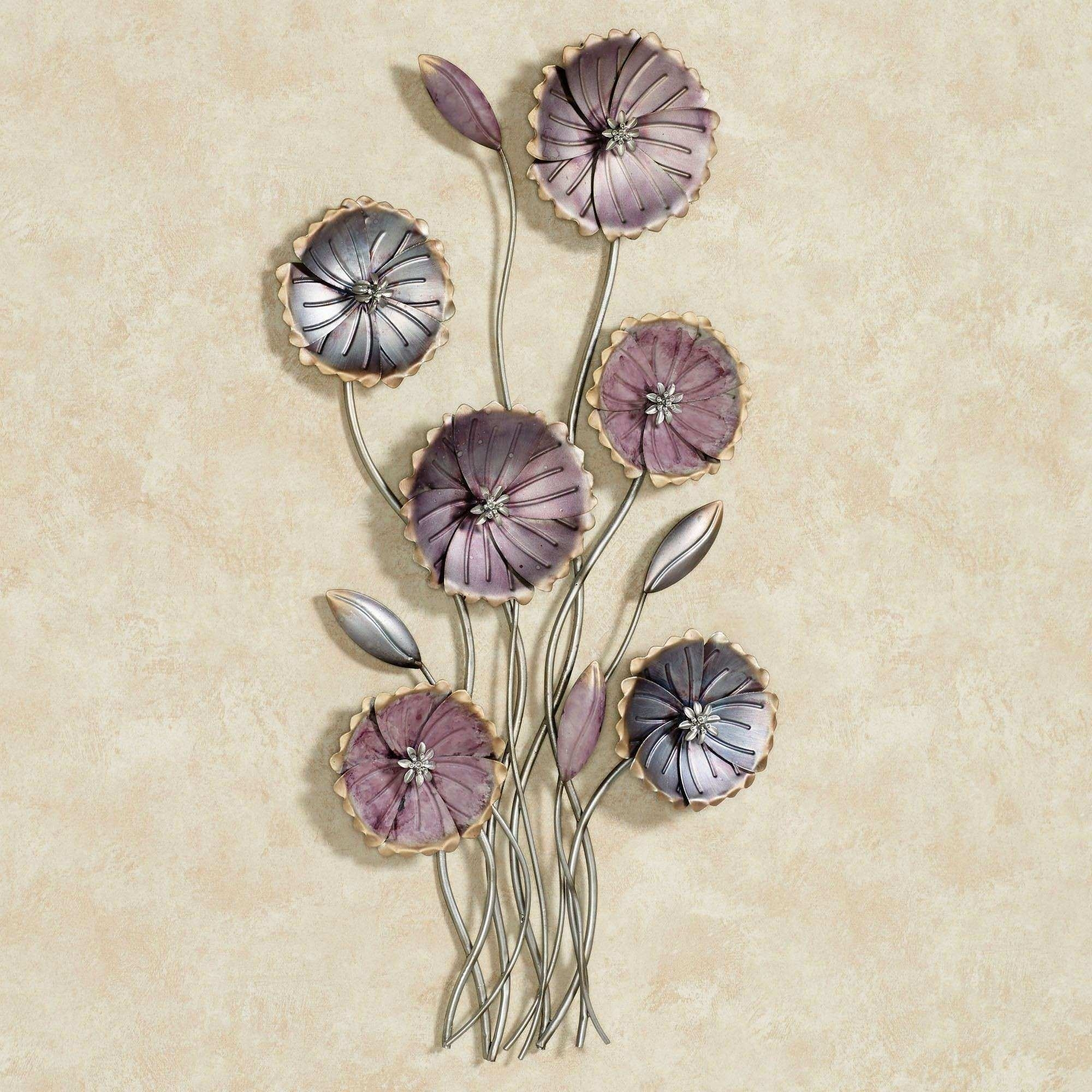 Flower Wall Art Elegant Charming Floral Array Purple Metal Wall Art throughout Metal Flowers Wall Art (Image 5 of 20)