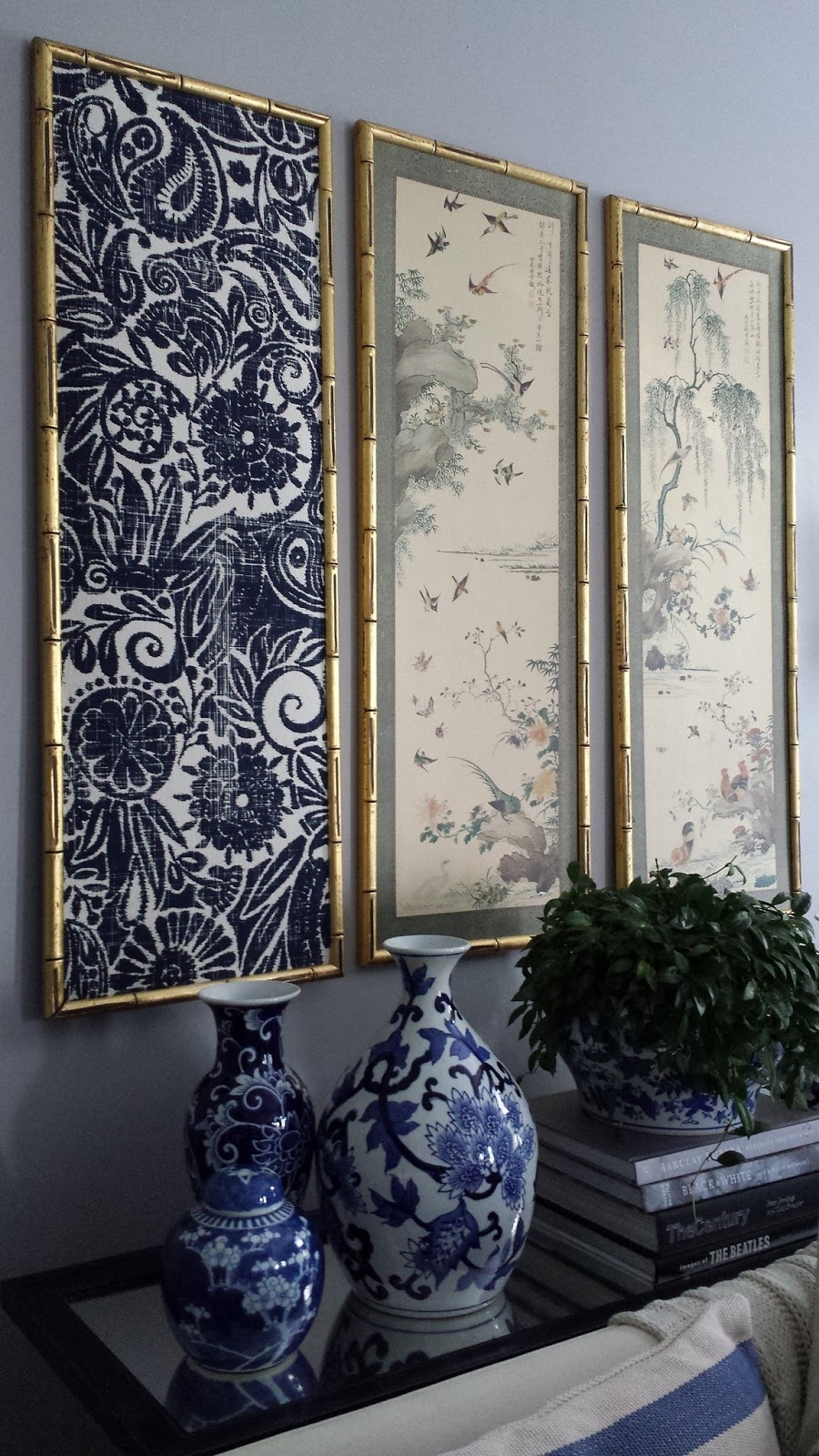 Focal Point Styling: Diy Indigo Wall Art With Framed Fabric within Fabric Wall Art (Image 12 of 20)