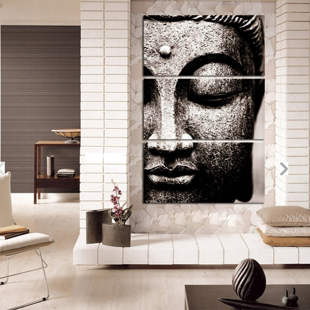 Framed 3Pcs Abstract Gray Buddha Modern Home Decor Canvas Print throughout Living Room Painting Wall Art (Image 13 of 20)