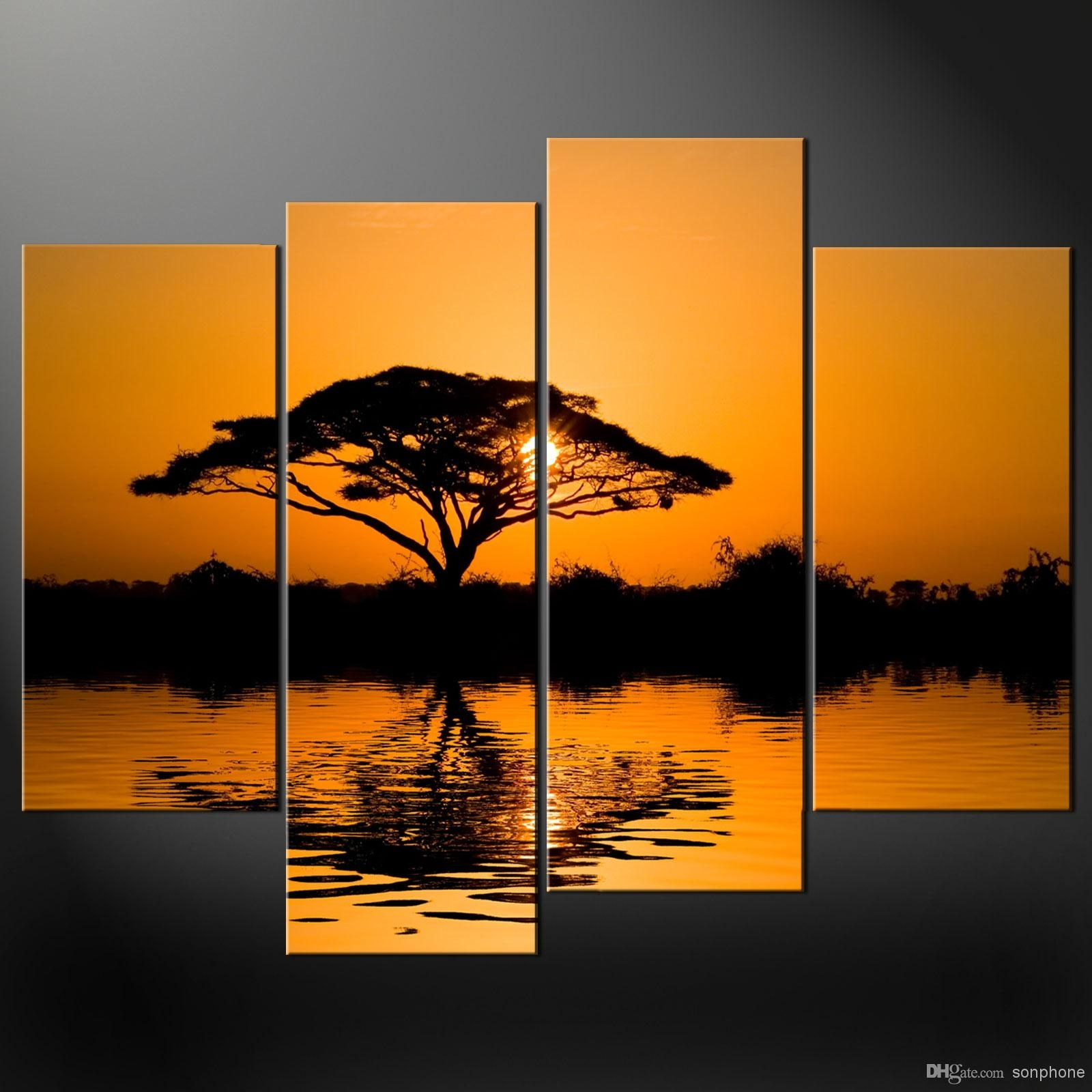 Framed 4 Panel Large African Wall Art Decor Modern Sunset Oil Intended For 4 Piece Wall Art (View 8 of 20)
