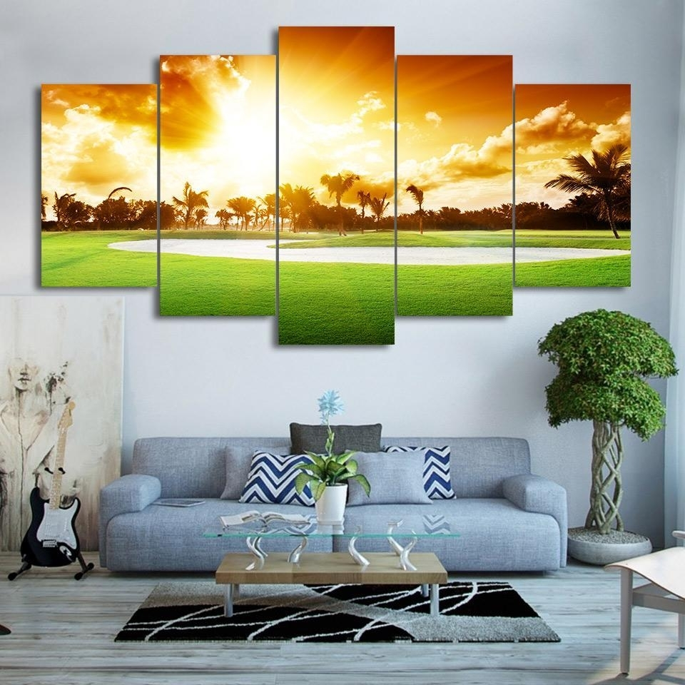 Framed 5 Piece Golf Course Sunset Print Canvas Wall Art Paintings Pertaining To Golf Canvas Wall Art (View 14 of 20)