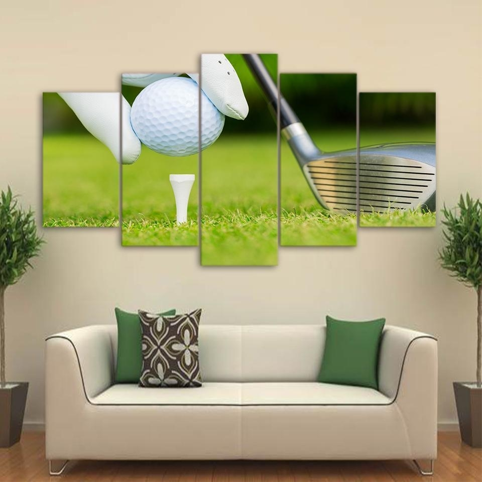 Framed 5 Piece Golf Ready For Kickoff Canvas Wall Art Paintings Home Throughout Golf Canvas Wall Art (View 11 of 20)