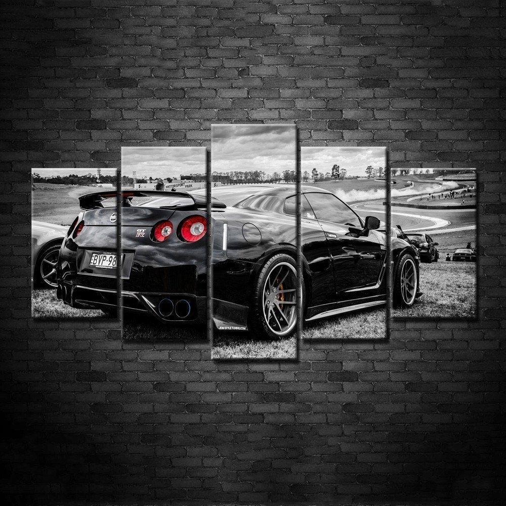 Framed 5 Piece Nissan Gtr Nismo Super Car Hd Poster Canvas Wall Art inside Car Canvas Wall Art (Image 17 of 20)
