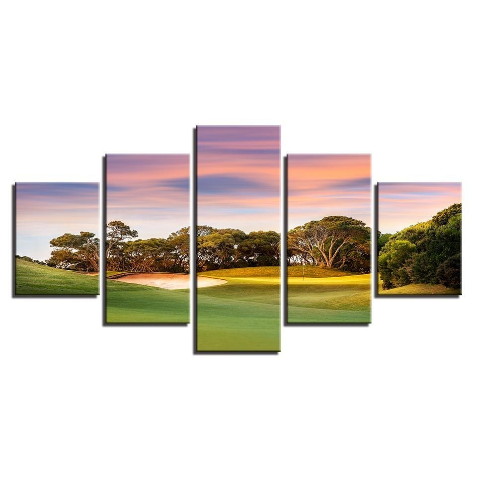 Framed 5 Piece Sunset Golf Course Canvas Wall Art Paintings Home Intended For Golf Canvas Wall Art (View 20 of 20)