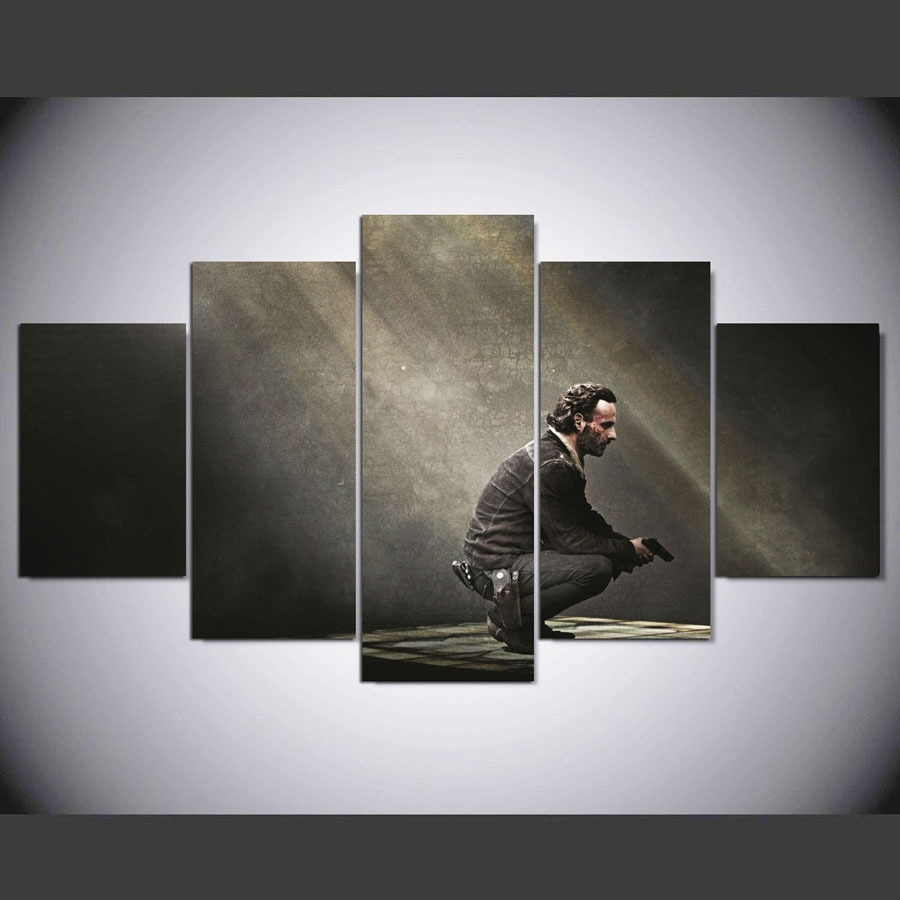 Framed 5 Piece Walking Dead Movie Pictures Canvas Paintings Wall Art Within 5 Piece Wall Art Canvas (View 16 of 20)