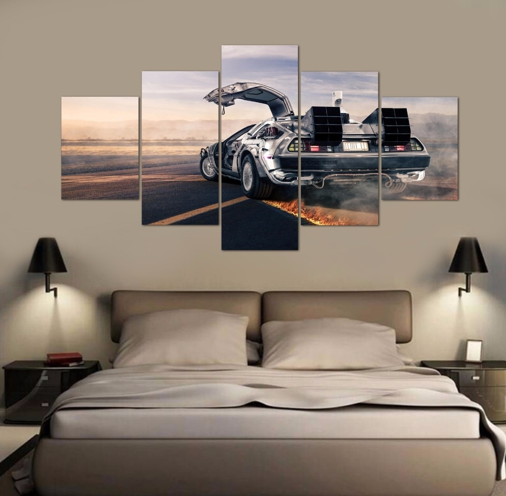 Framed 5 Pieces Canvas Art Back To The Future Time Car Paintings On With Wall Canvas Art (View 19 of 20)