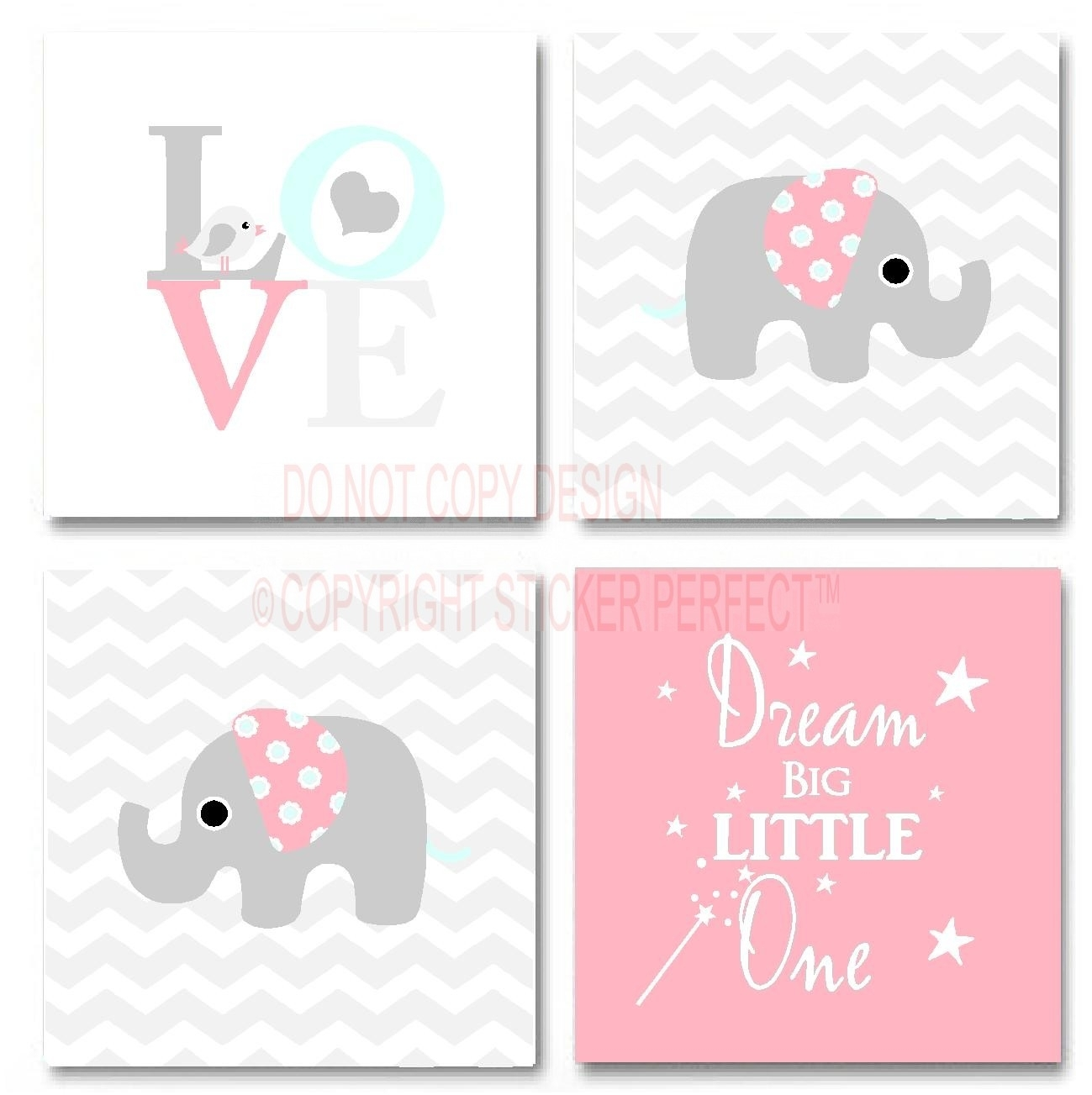 Framed Canvas Print Love 4 Piece Set #2 Cute Elephant Bird Pertaining To Inspirational Wall Art Canvas (View 6 of 20)